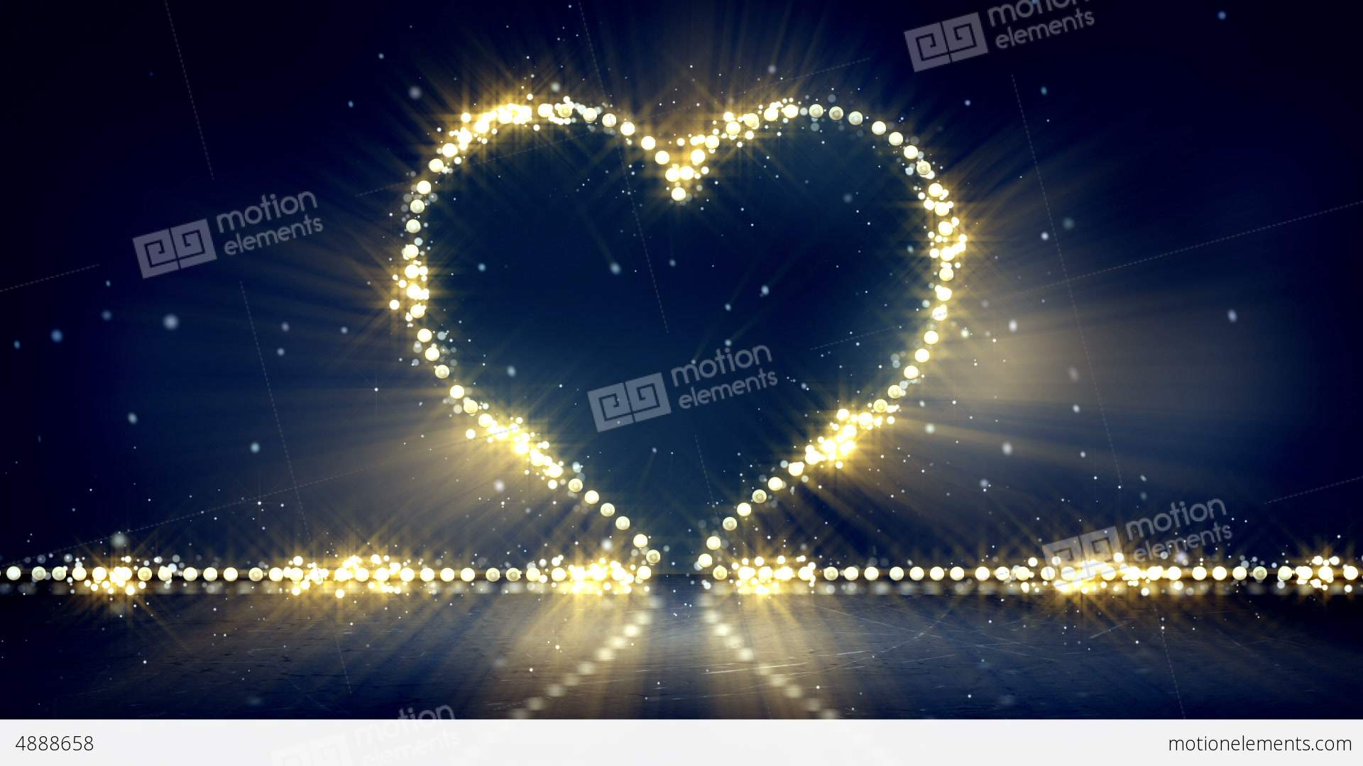 Heart shape christmas lights loop background stock
