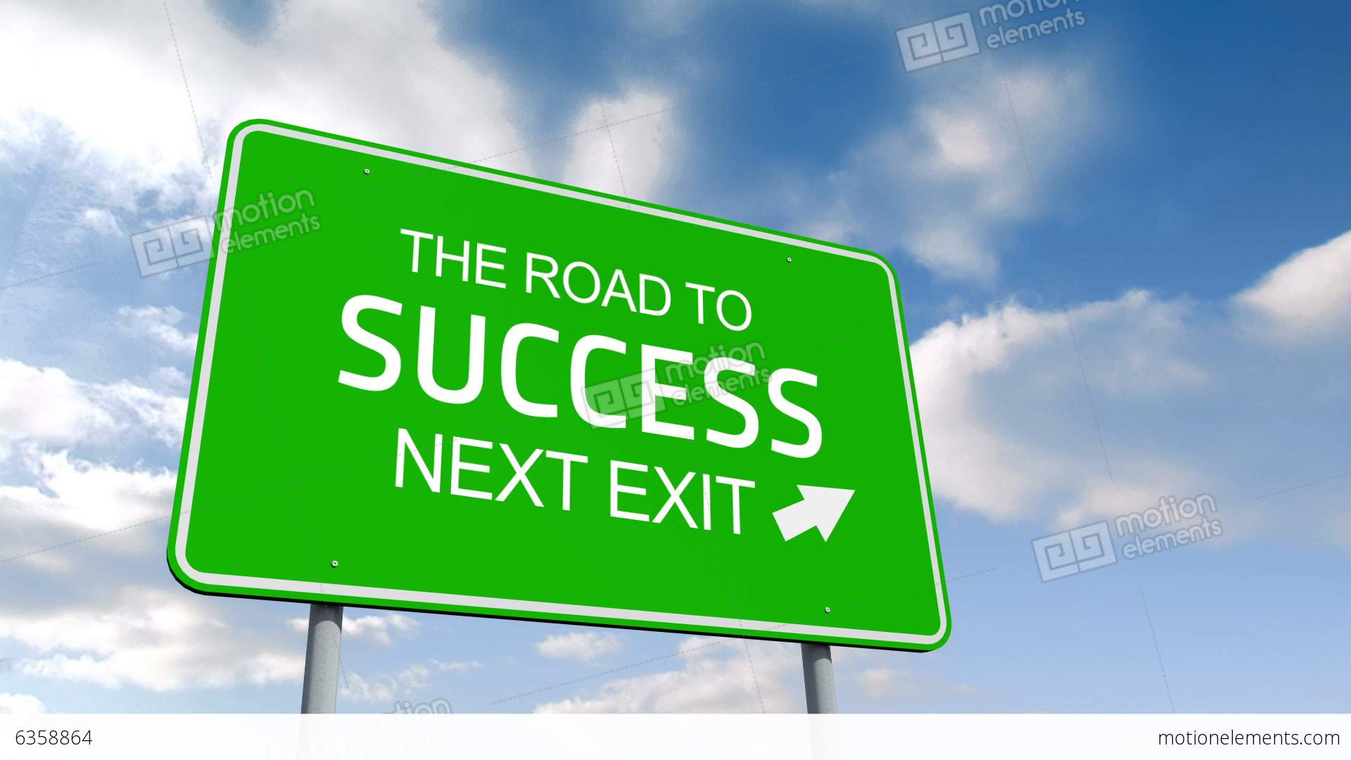 The Road To Success And Next Exit Road Sign Over Cloudy ...