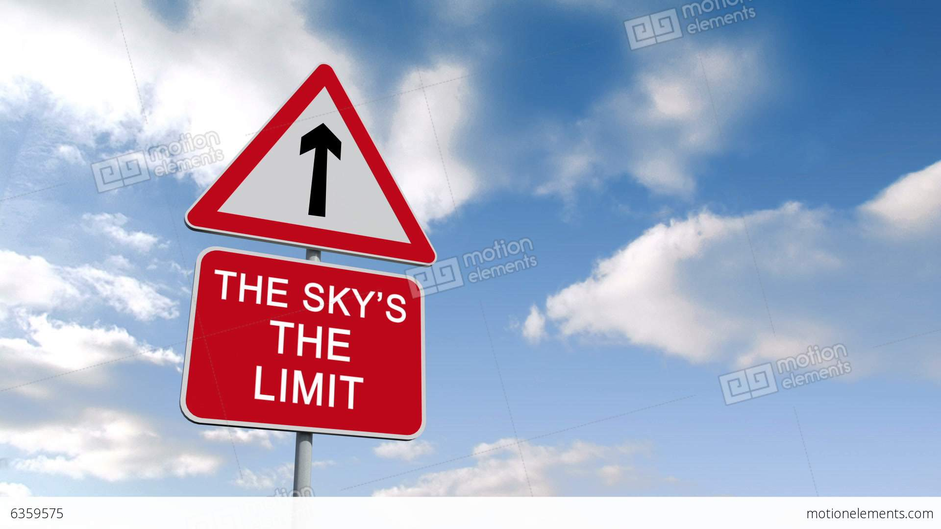 the skys the limit sign against blue sky stock animation 6359575. Black Bedroom Furniture Sets. Home Design Ideas
