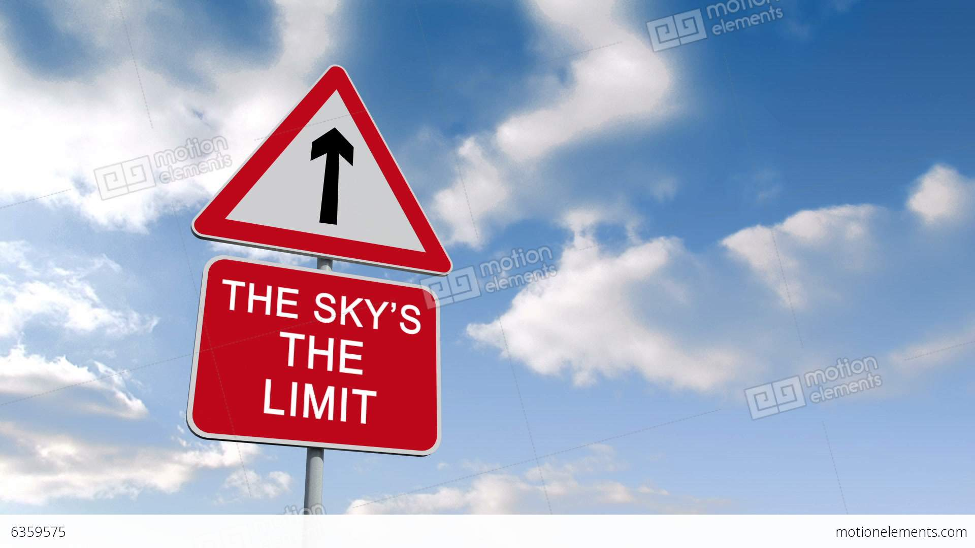 The Skys The Limit Sign Against Blue Sky Stock Animation ...