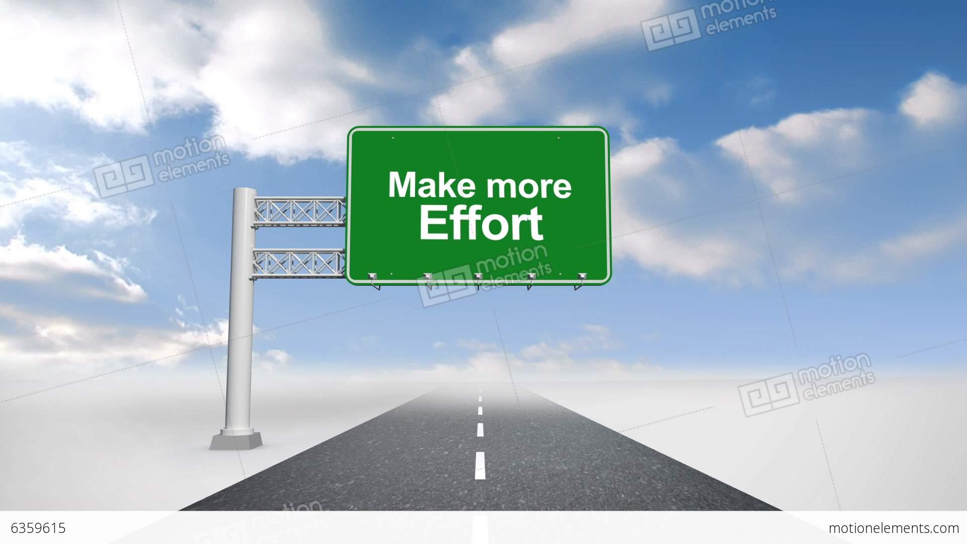 Make More Effort Road Sign Against Blue Sky Stock ...