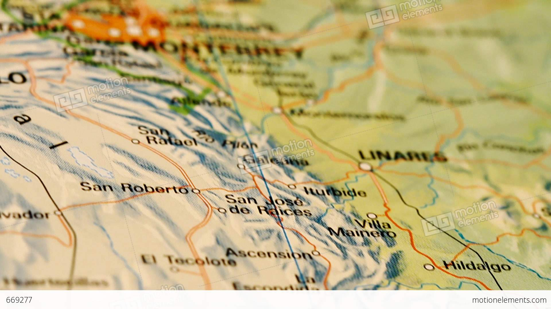 Monterrey And Northern Mexico On Map DOLLY Video Footage – Map Monterrey Mexico