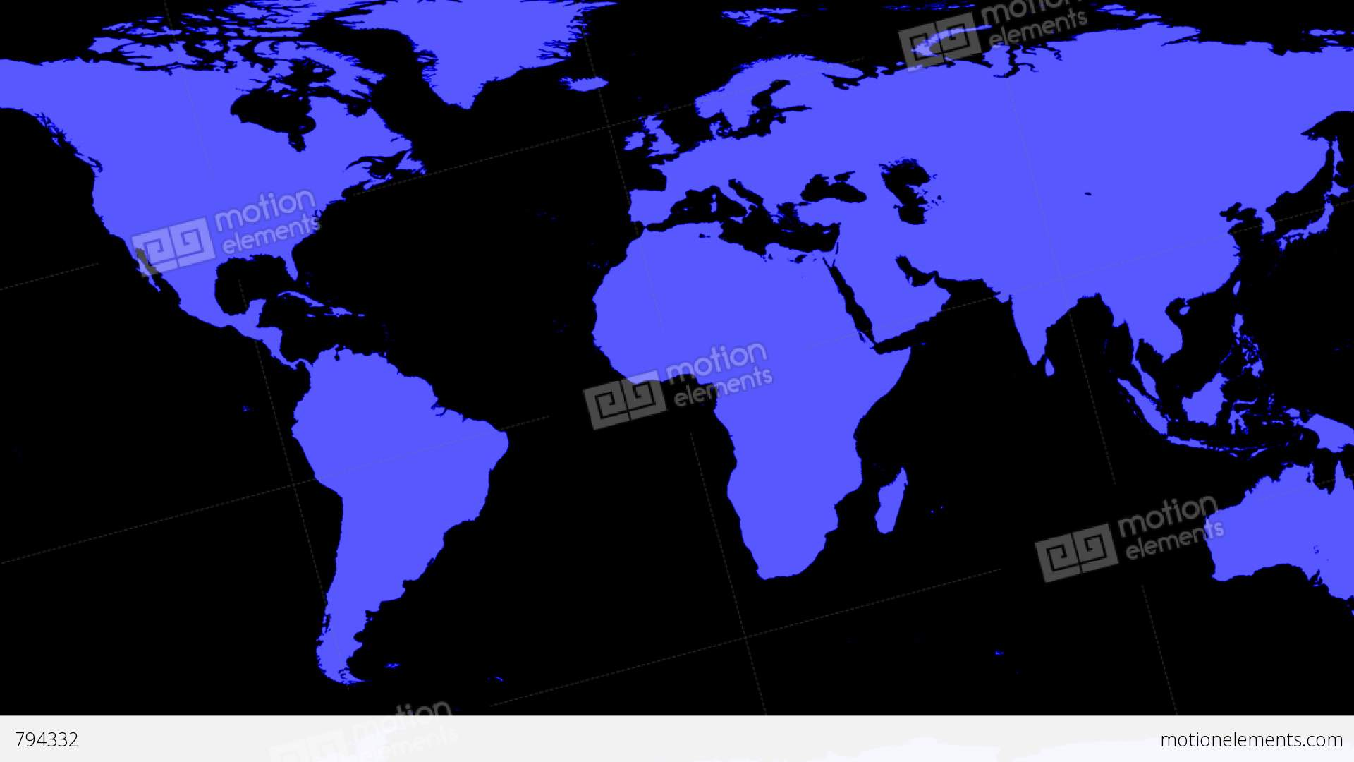 World Map Wraps To Spinning Globe (black Background) Stock Video Footage