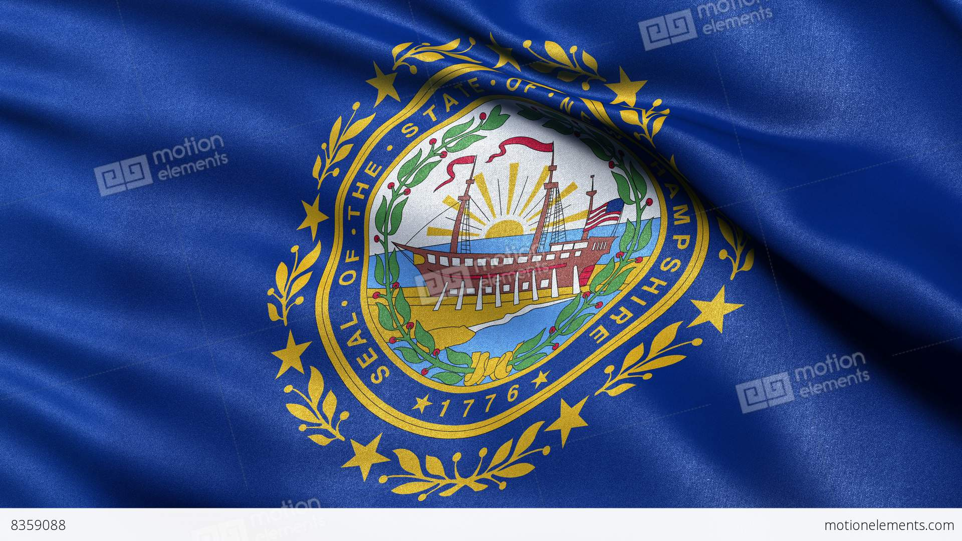 4k New Hampshire State Flag Seamless Loop Ultra Hd Stock Animation