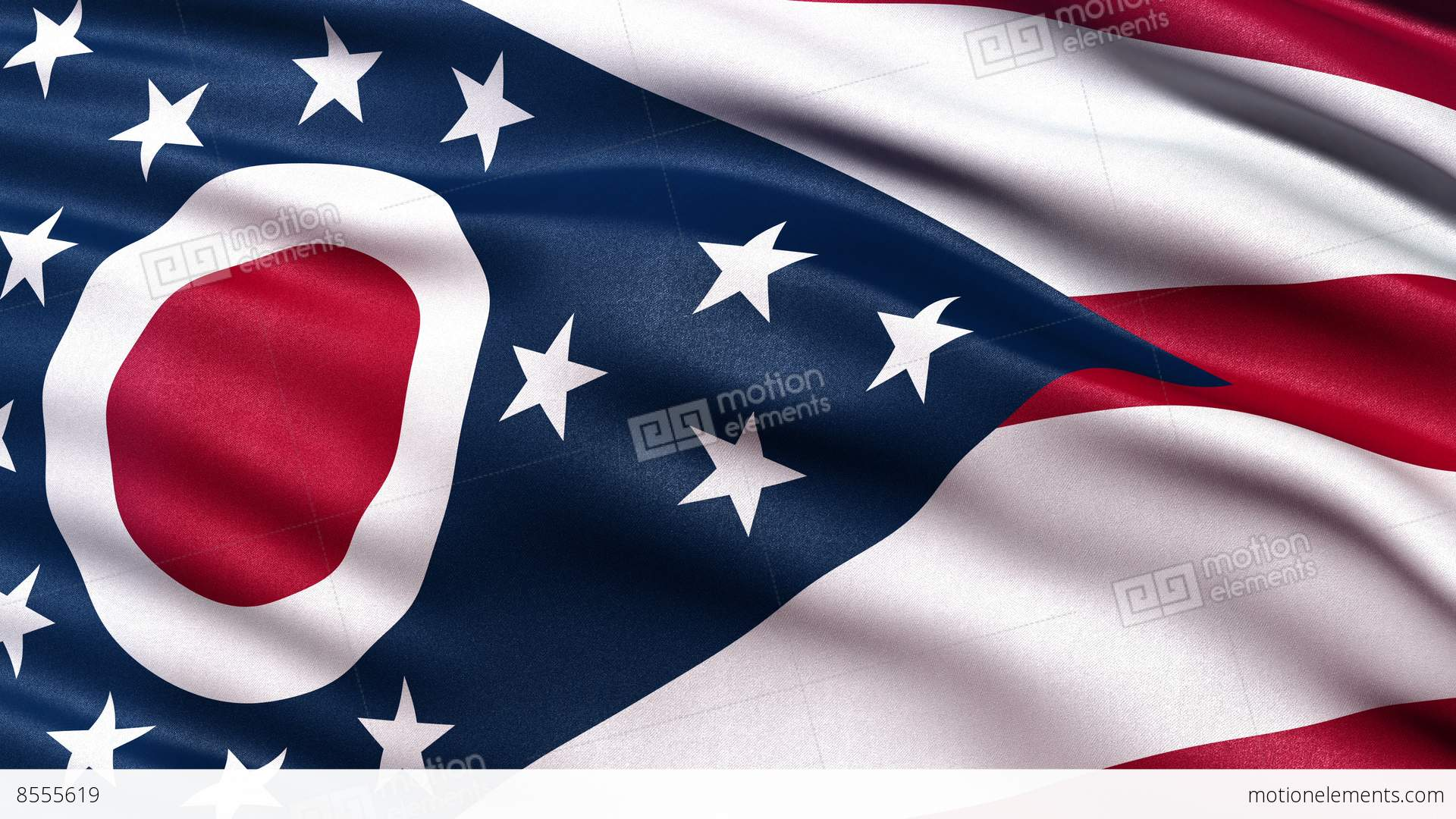 4k ohio state flag seamless loop ultra-hd stock animation | 8555619