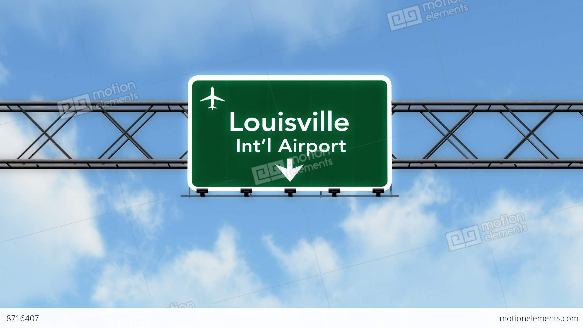 4k Passing Louisville Airport Sign With Matte 2 Stylized Stock