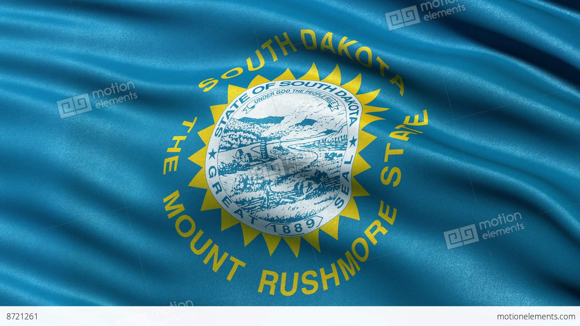4k South Dakota State Flag Seamless Loop Ultra Hd Stock Animation