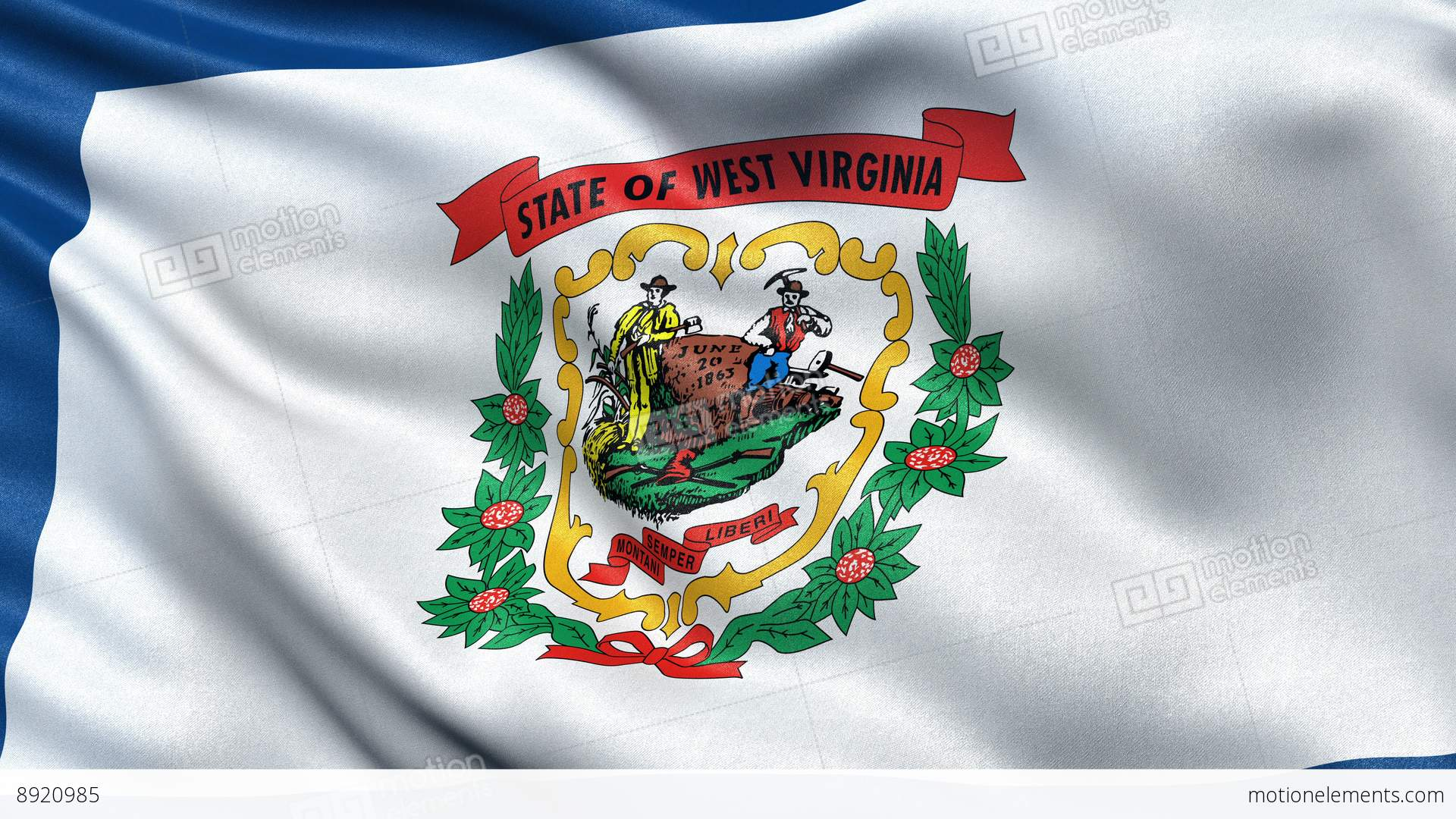 4k West Virginia State Flag Seamless Loop Ultra Hd Stock Animation