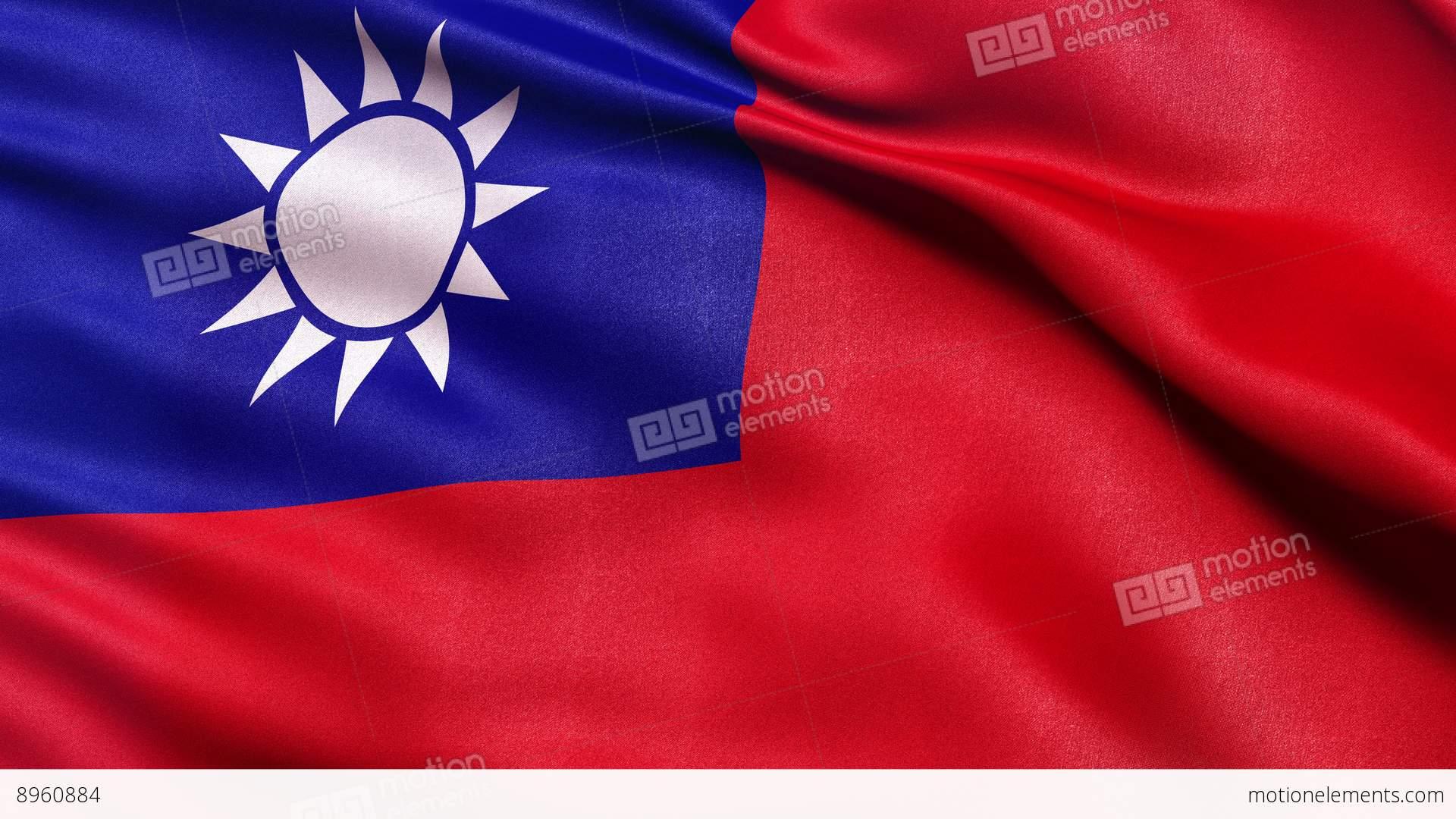 4k taiwan flag seamless loop ultra hd stock animation 8960884