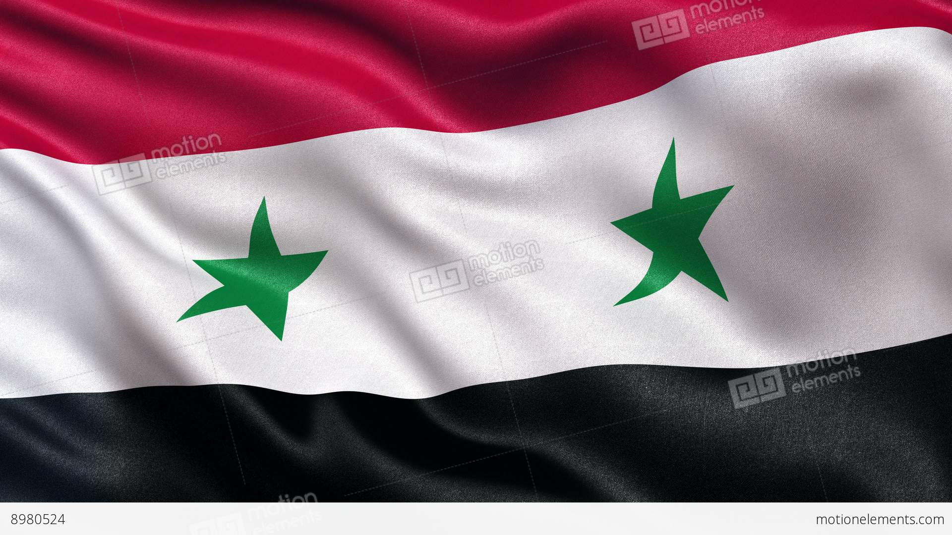K Syria Flag Seamless Loop UltraHD Stock Animation - Syria flag