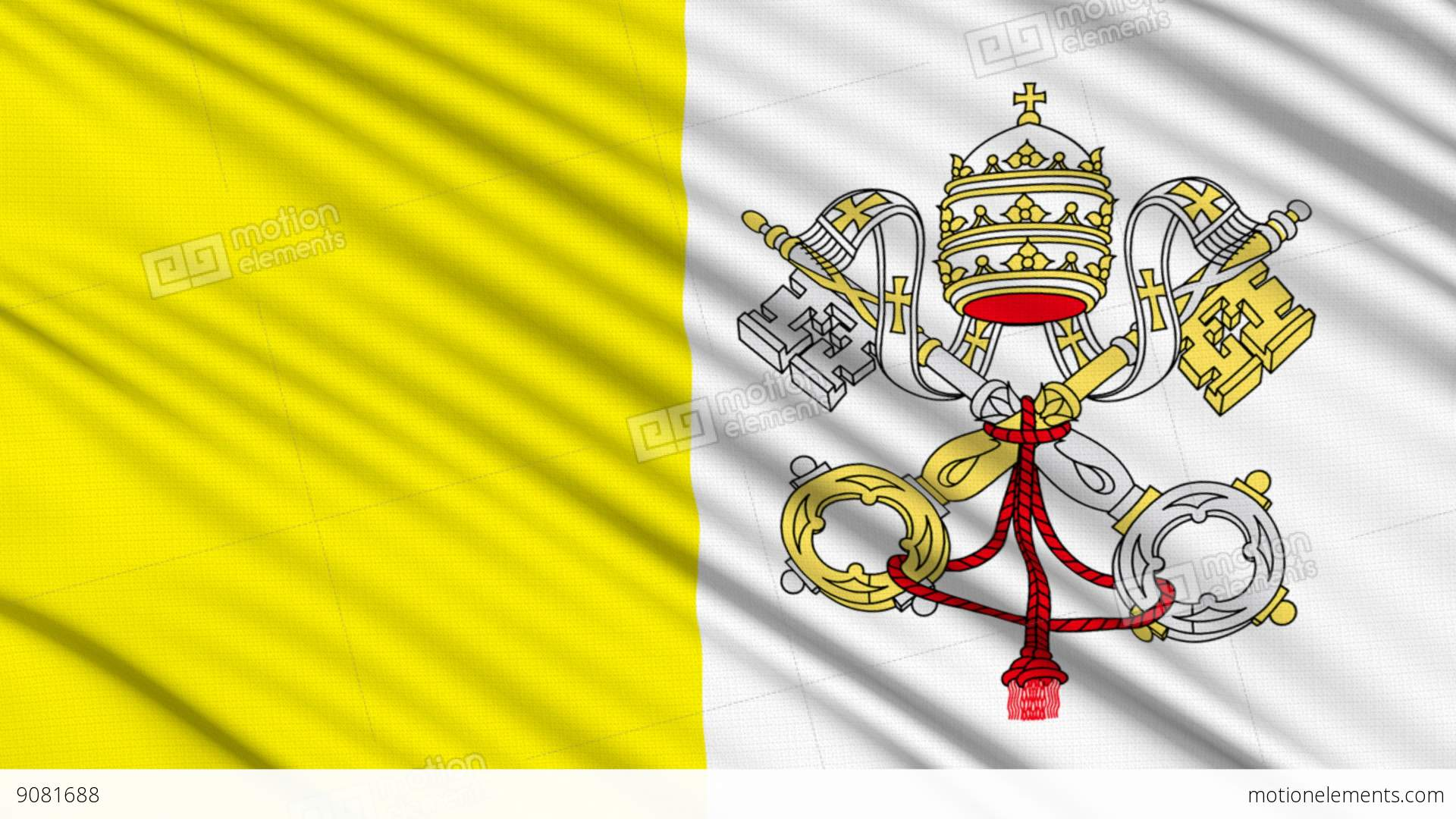 Vatican Flag, With Real Structure Of A Fabric Stock