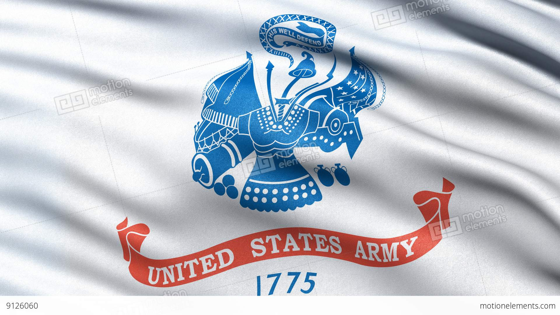 4k United States Of America Army Flag Waving In The Wind Stock