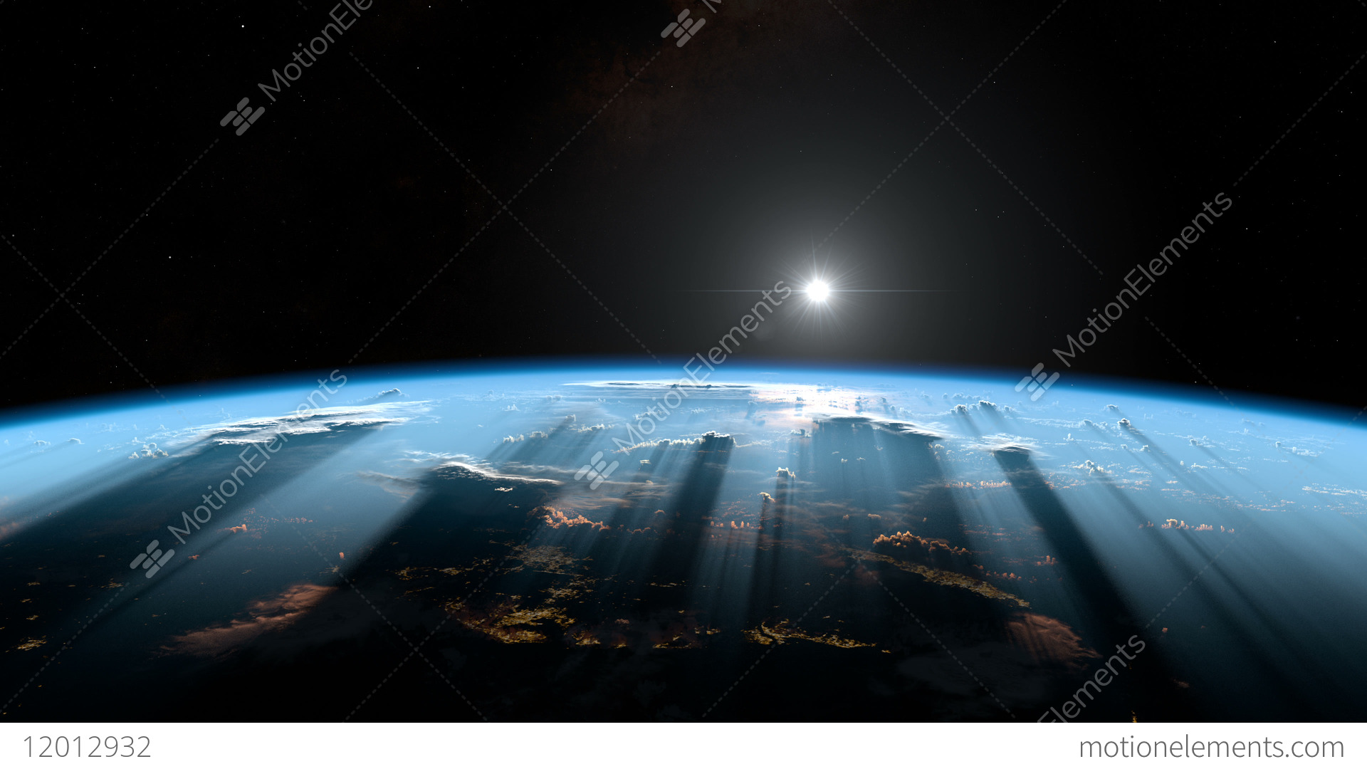 sunrise from space earth from space stock animation