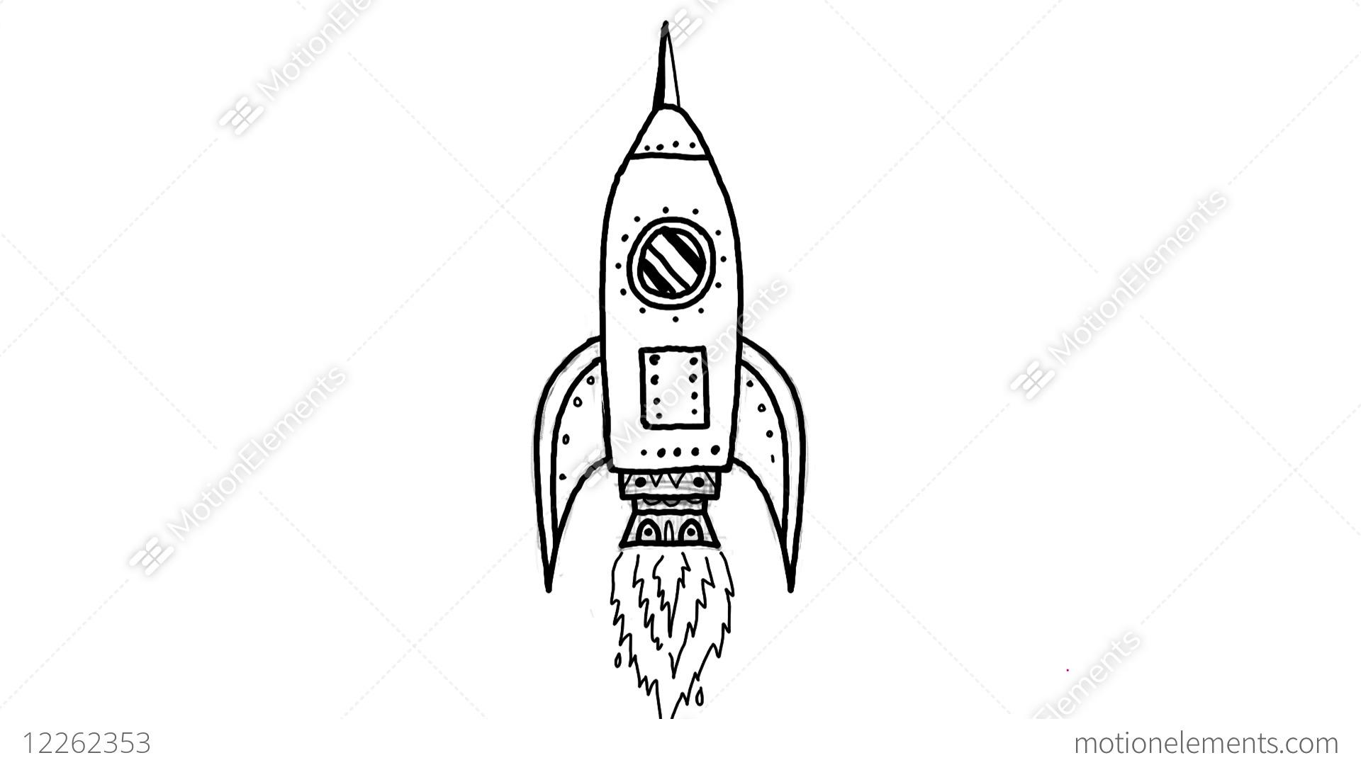 Vintage Rocket Ship Blasting Off Drawing 2D Animation