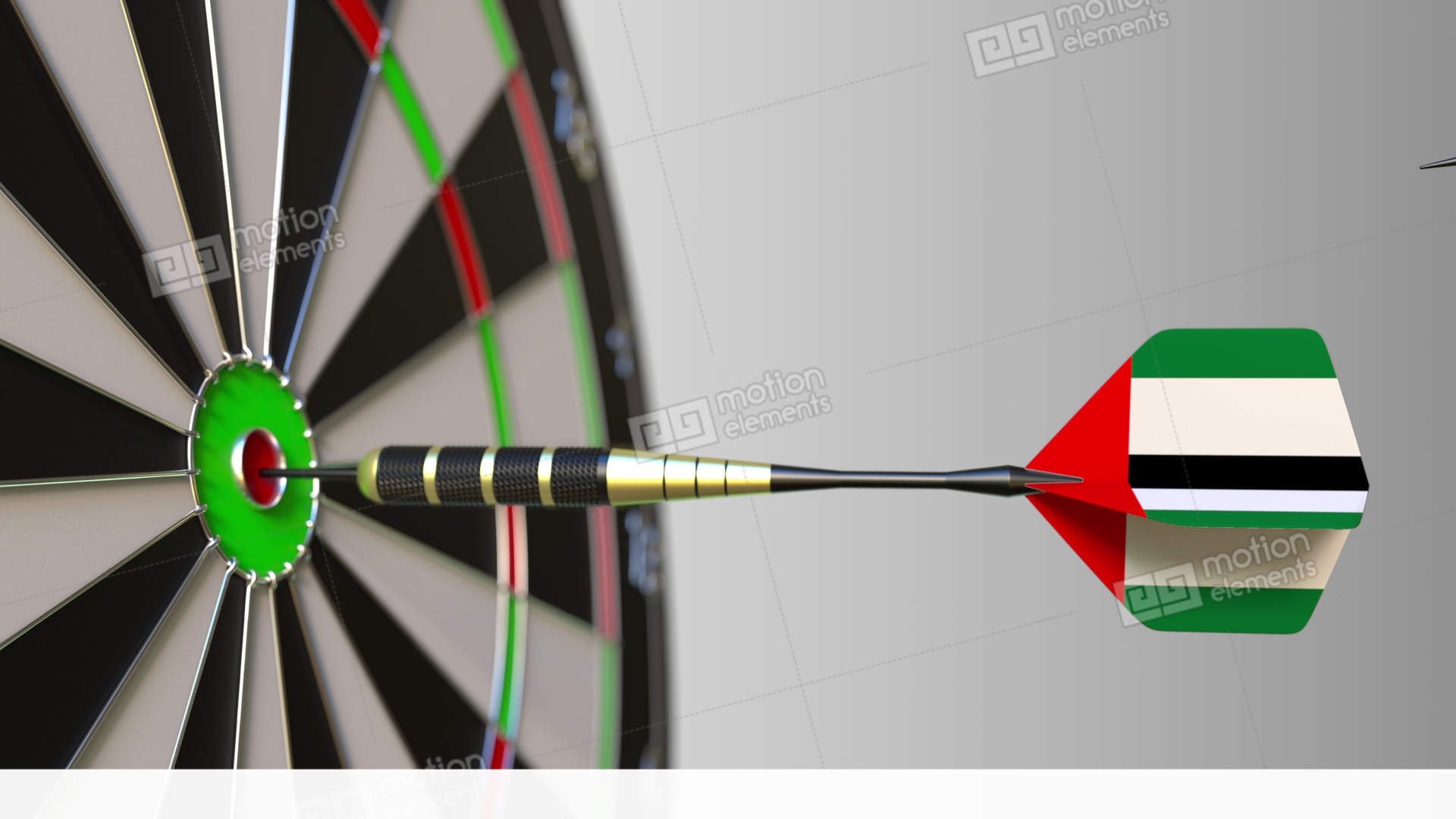 flags of iran and the uae on darts hitting bullseye of the target