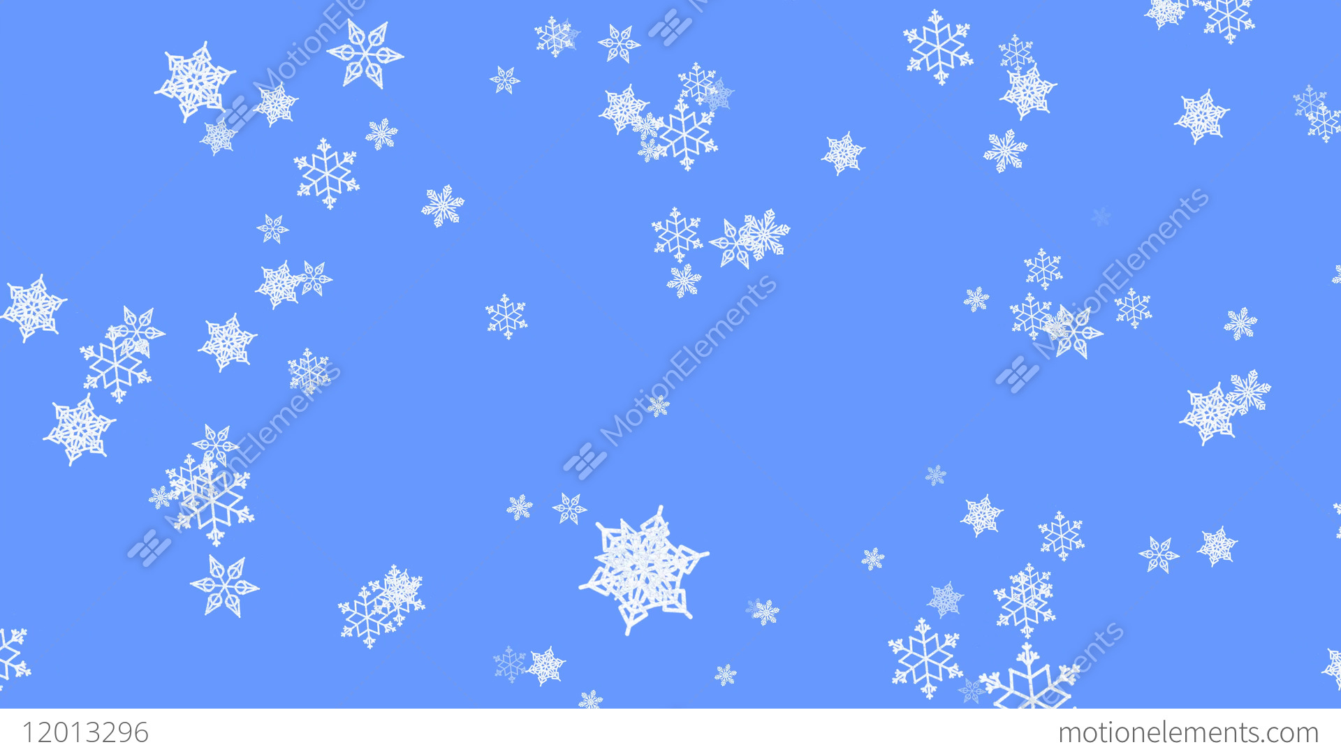 snowflake particles on light blue background flying snow