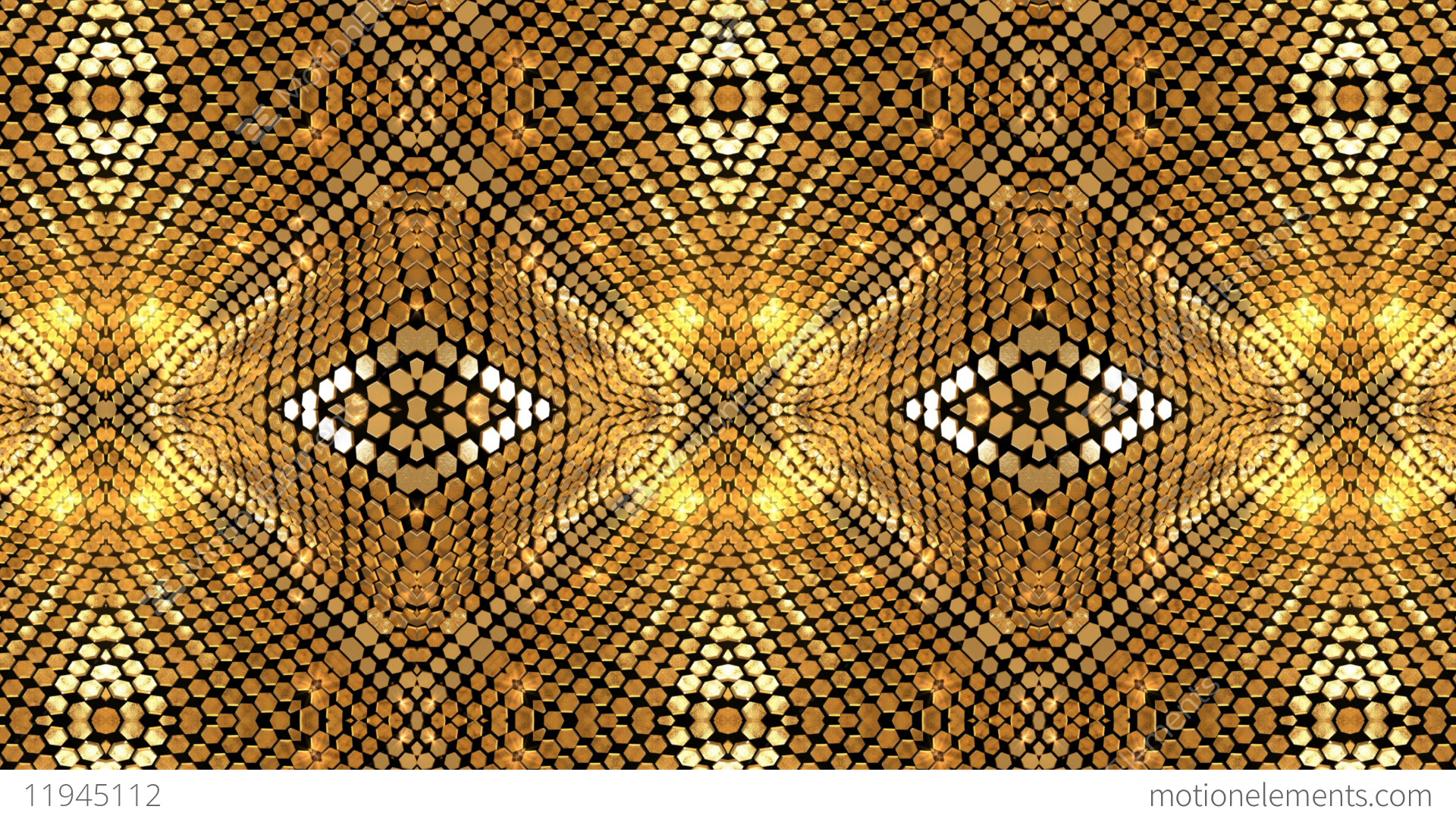 Gold Background Glow Shimmer Kaleidoscope Abstract Stock Animation