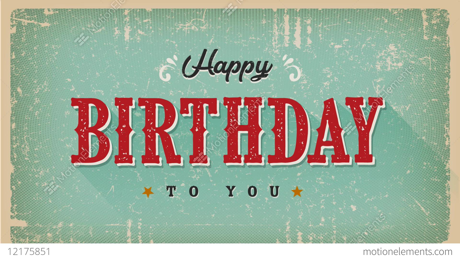 Vintage Happy Birthday Animation Card Stock Video Footage