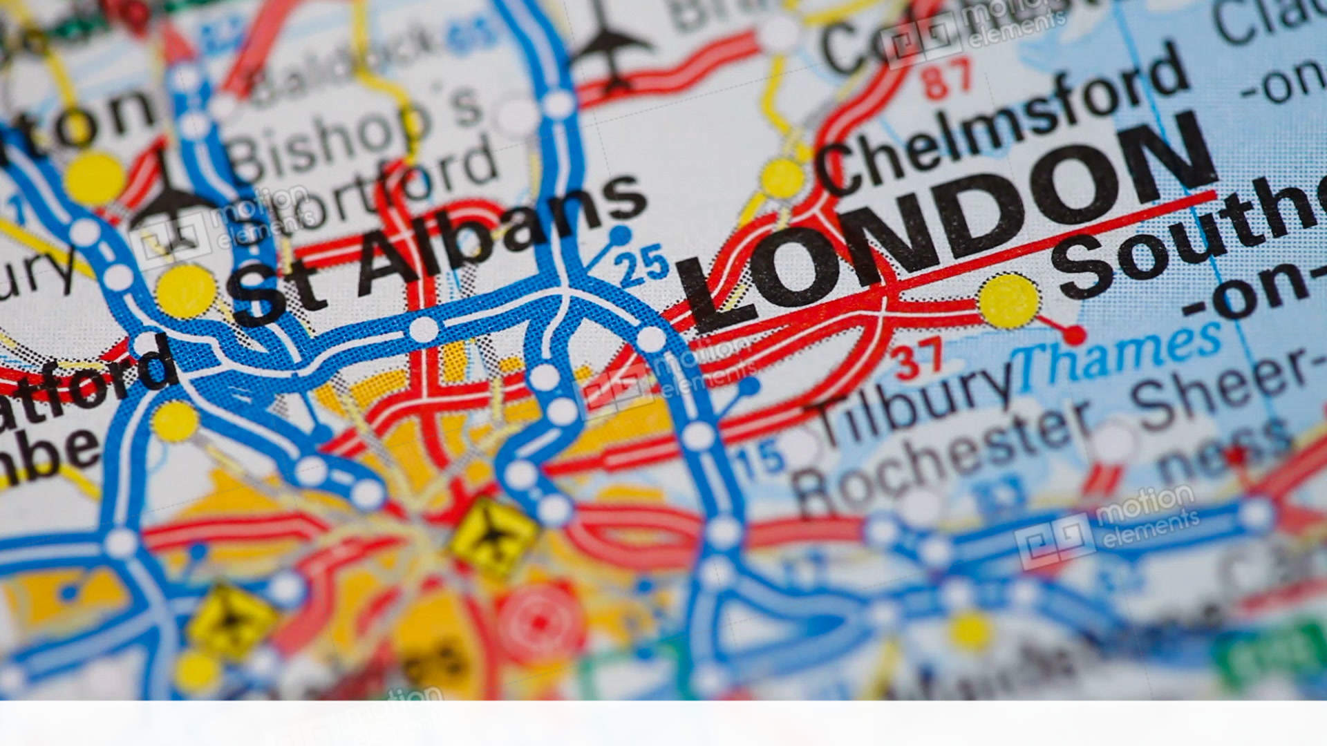 Rotating Road Map Of England Or United Kingdom Ending In The Capital