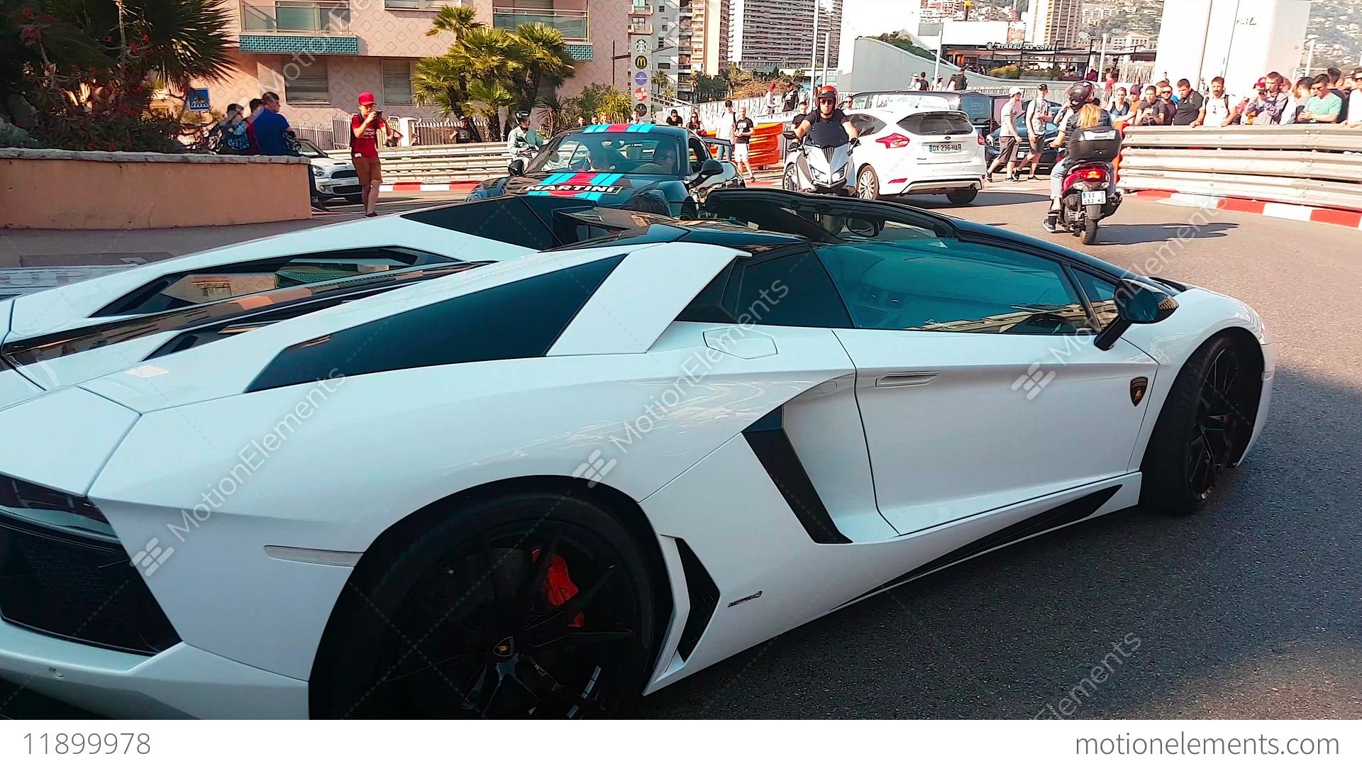 Black And White Lamborghini Aventador Lp 700 4 Roadster Stock Video
