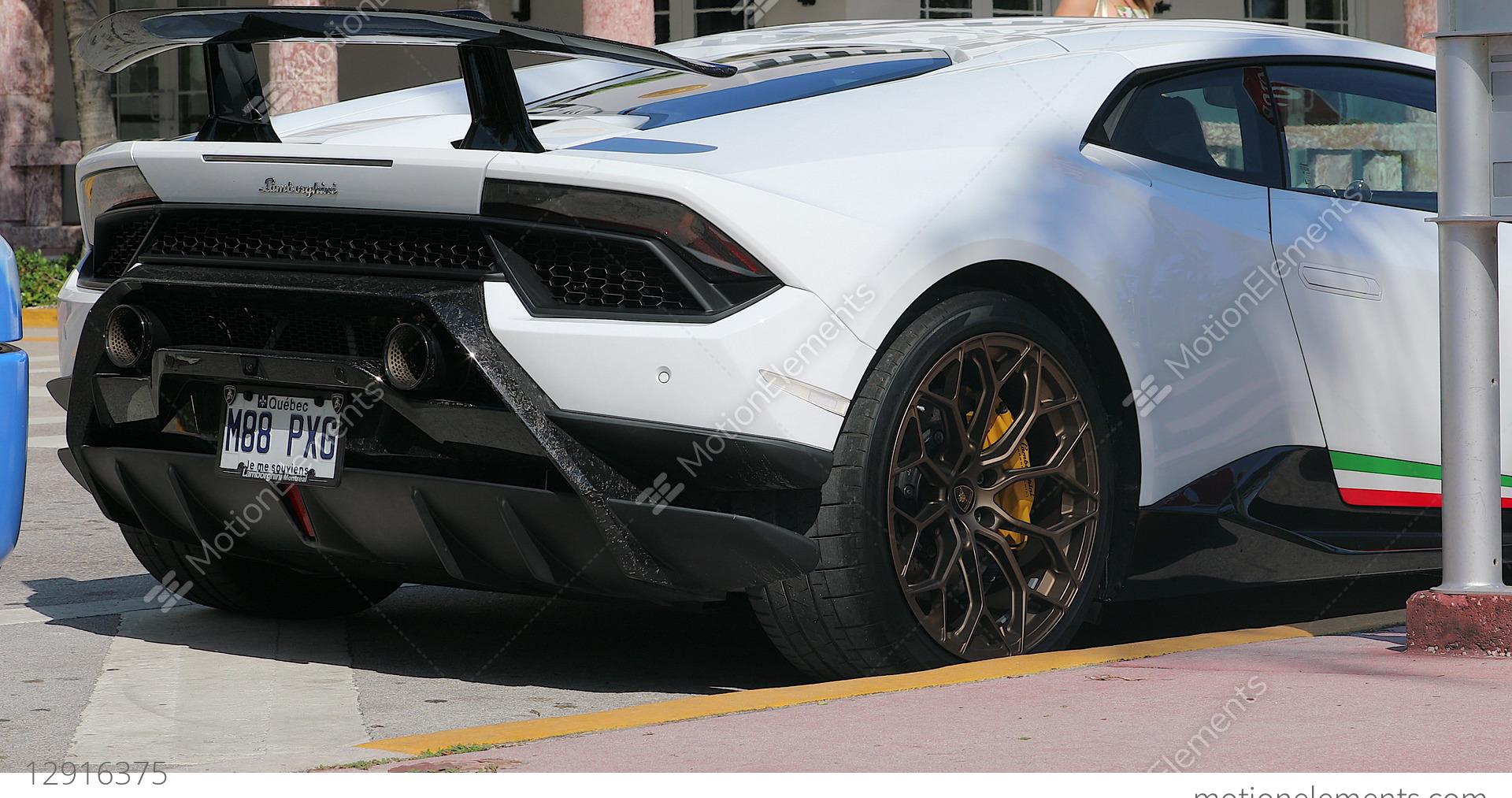 White Lamborghini Huracan Performante Rear View Stock Video Footage