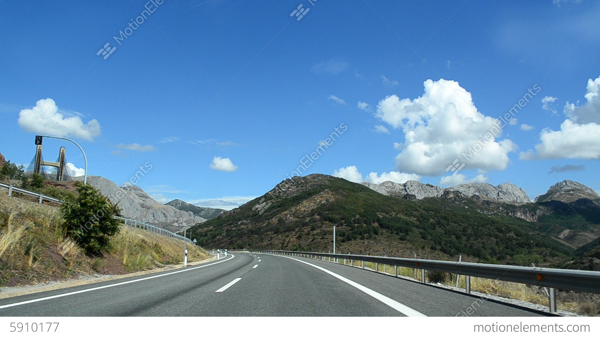 Car Driving On Mountain Highway With Tunnels. POV Stock ...