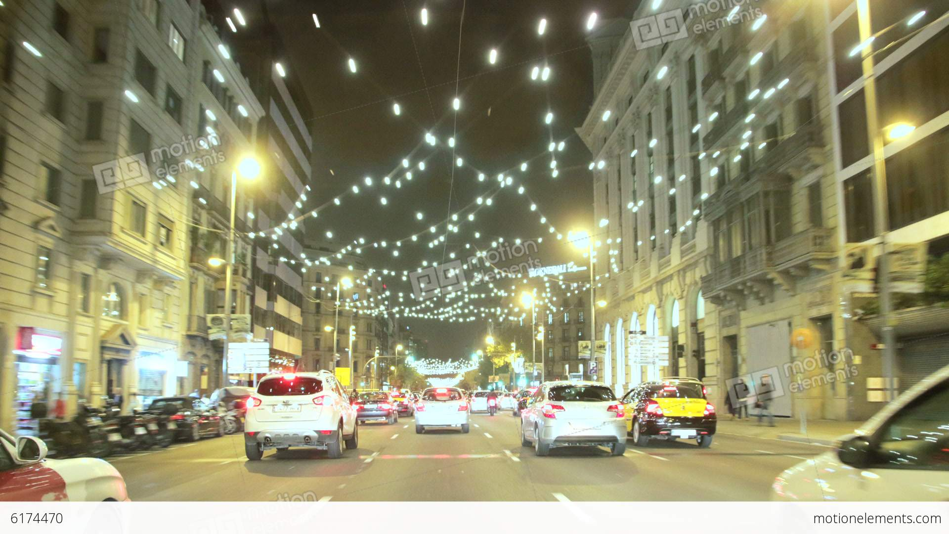 Barcelona Christmas Street Lights Decorations and Stock Video Footage