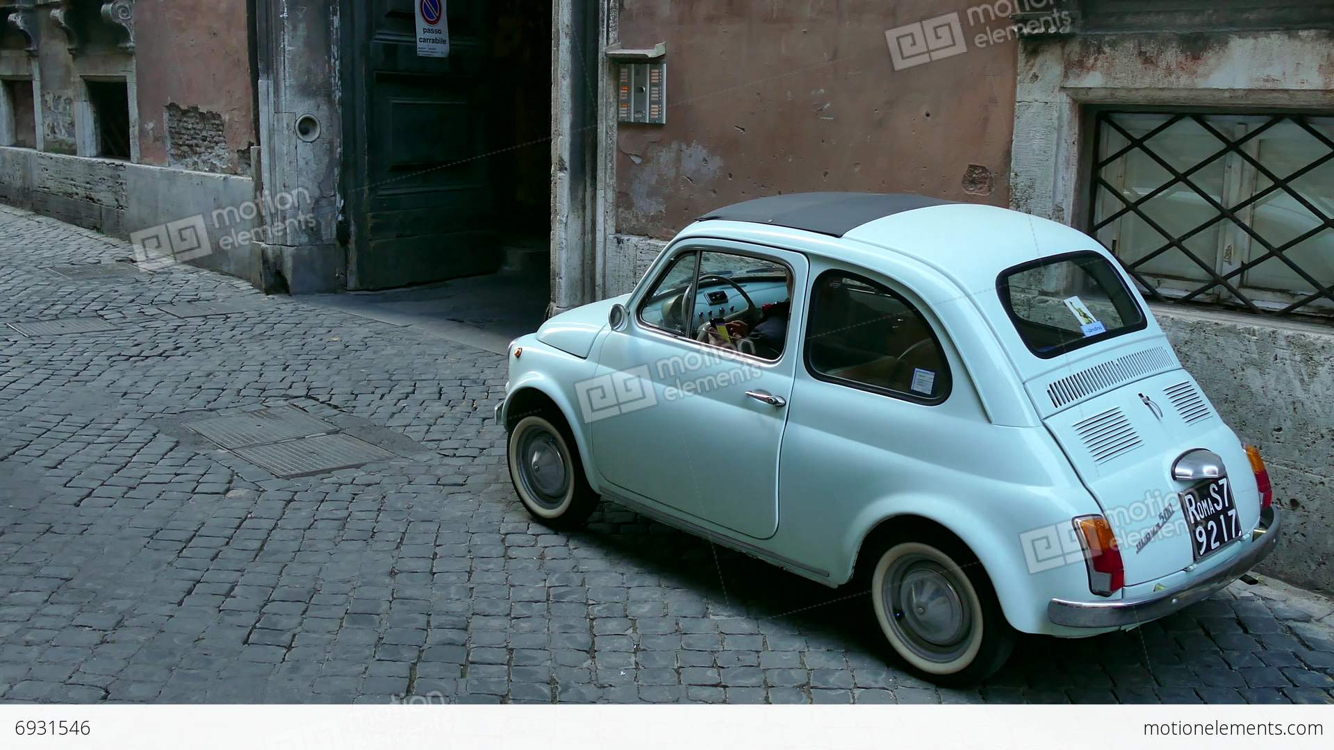 old fiat 500 cinquecento car parked rome roma italy italia stock video footage 6931546. Black Bedroom Furniture Sets. Home Design Ideas