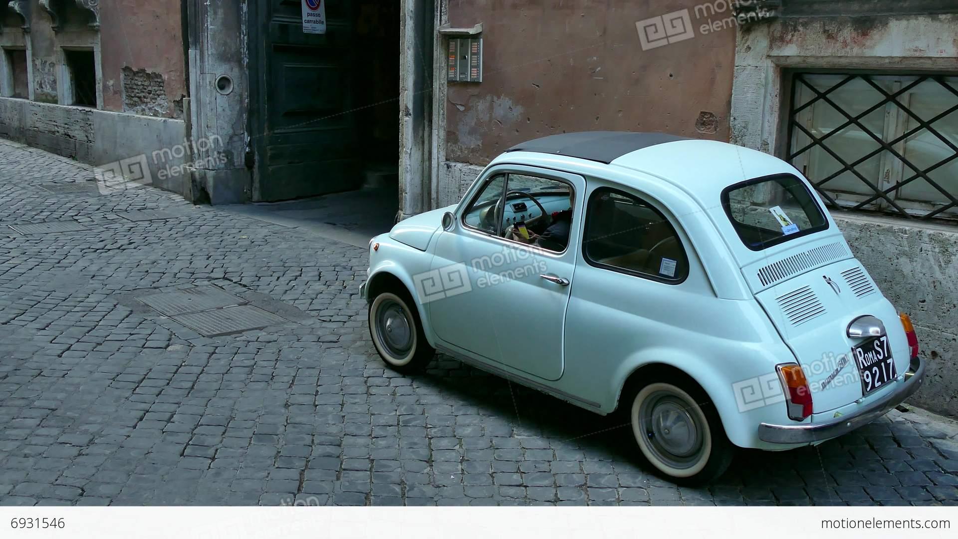 Old Fiat 500 Cinquecento Car Parked Rome Roma Italy Italia Stock