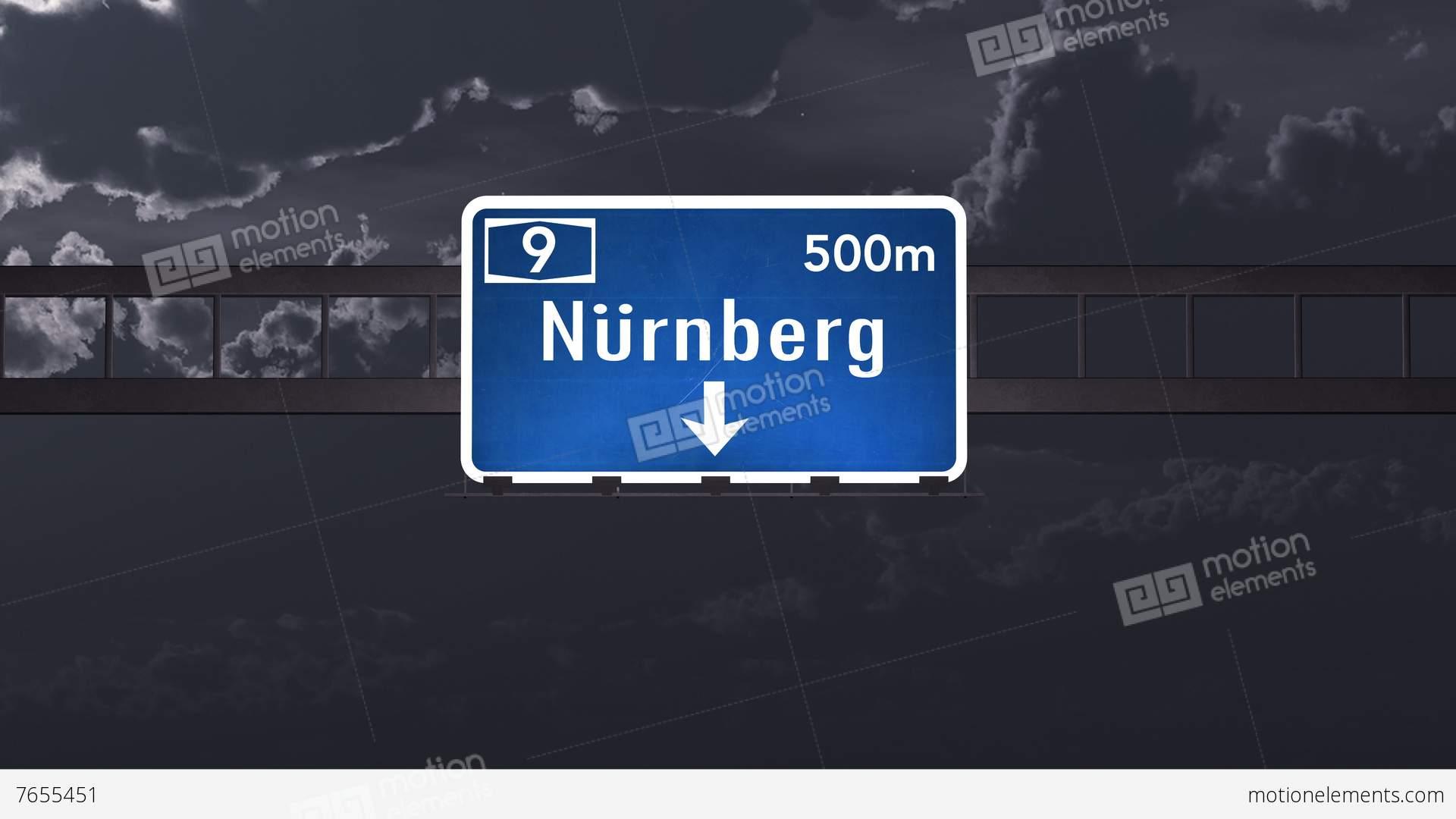 3d Animation Nürnberg 4k passing nurnberg germany highway sign at with matte 1