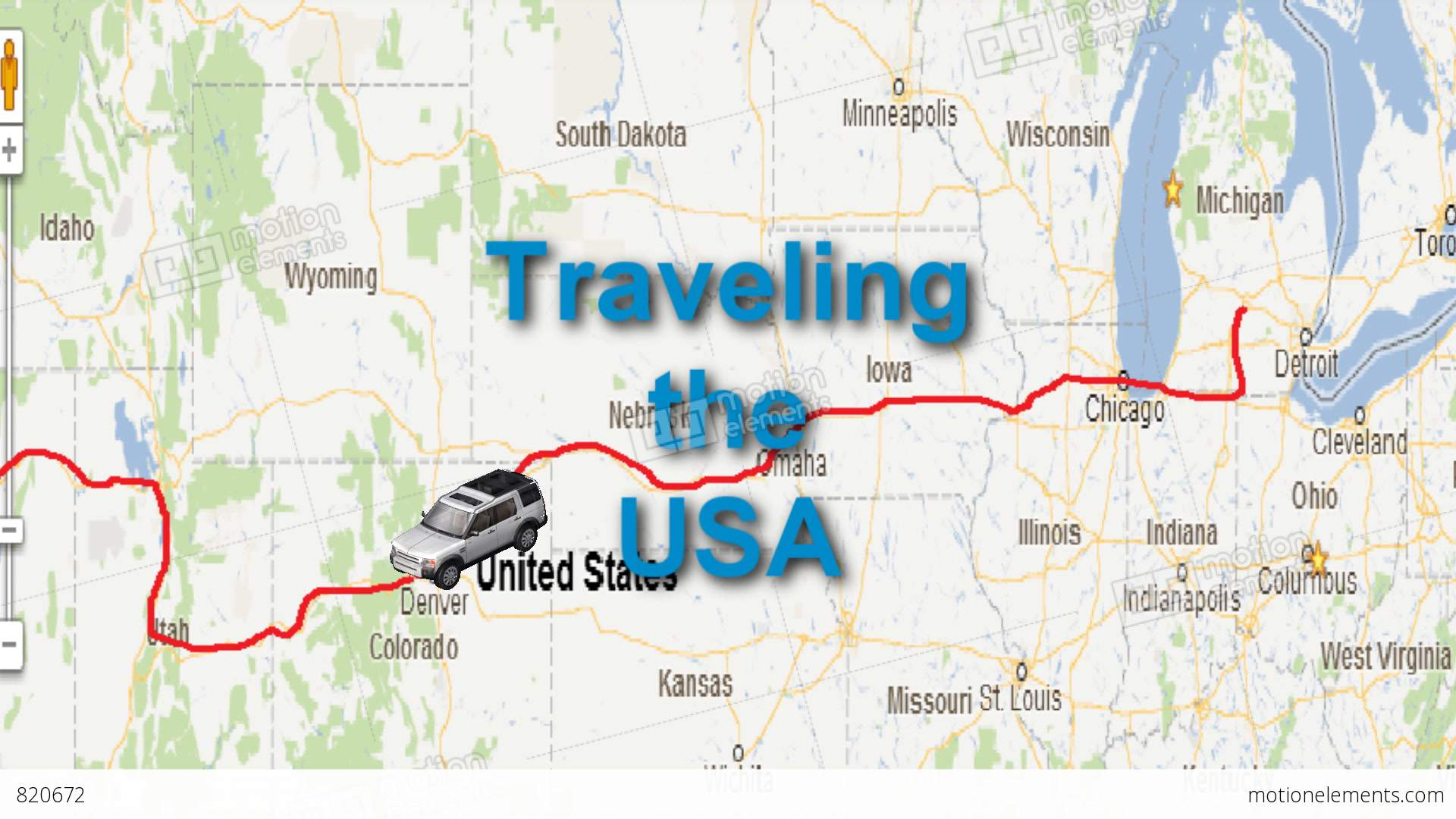 us map travel animation with car icon stock video footage
