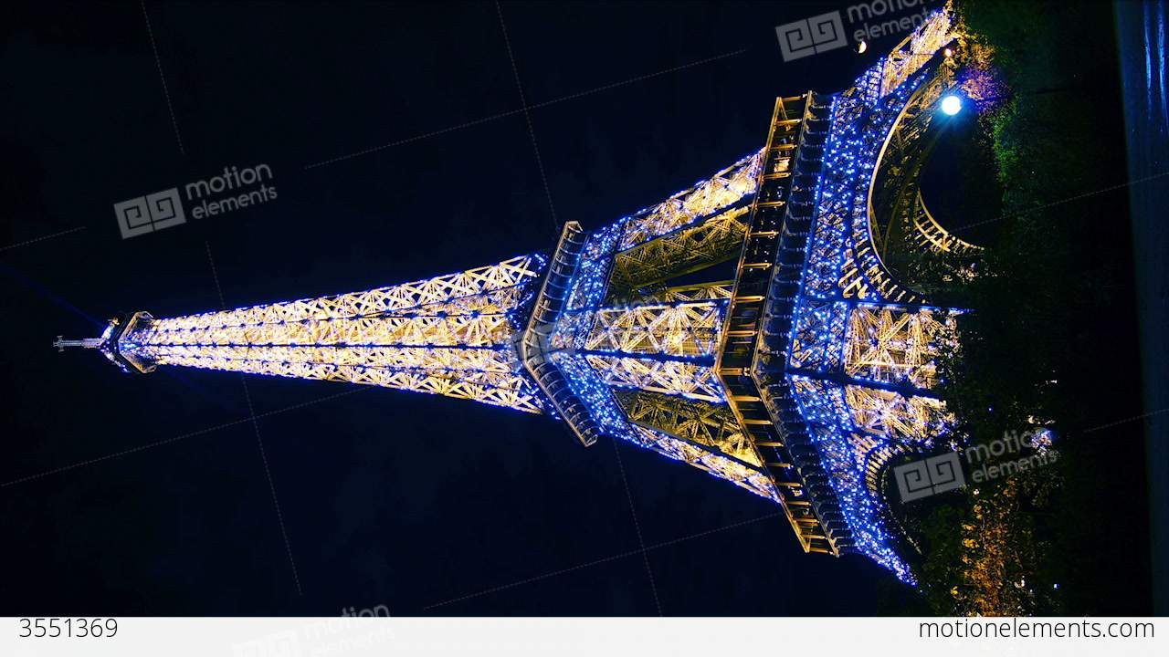 Eiffel tower in paris night lights time lapse stock for Paris night time