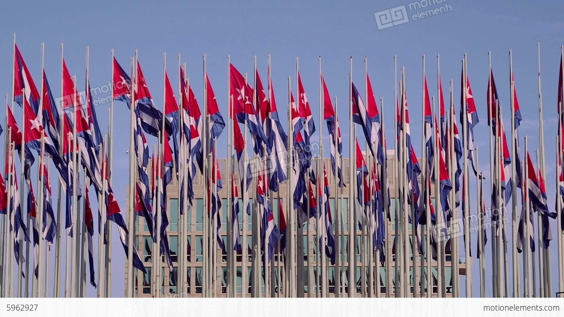 Cuba La Habana Havana Cuban Flags Near Ameri Stock Footage