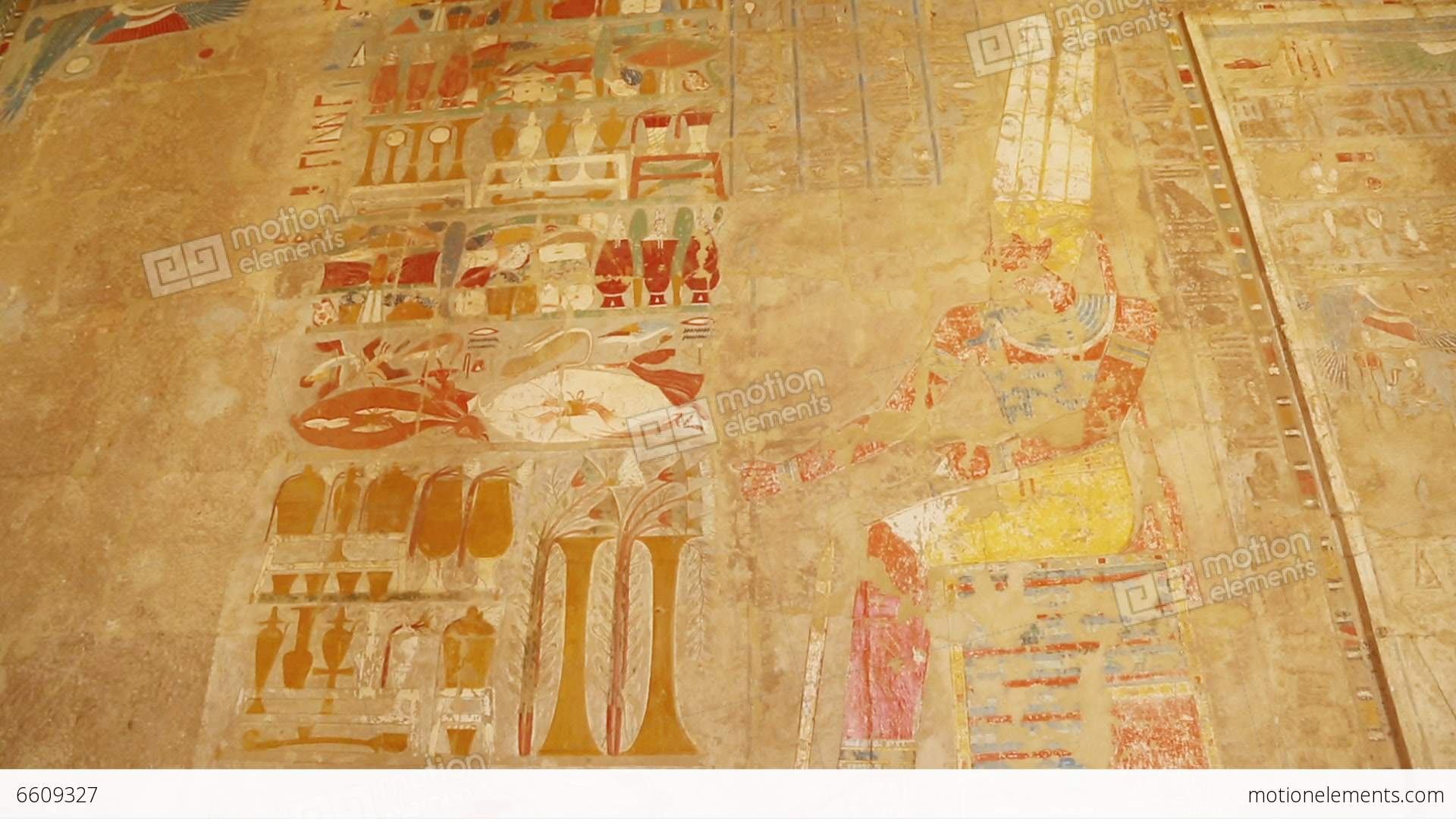 Ancient Egypt Color Images On Wall In Luxor - Tilt Stock video ...