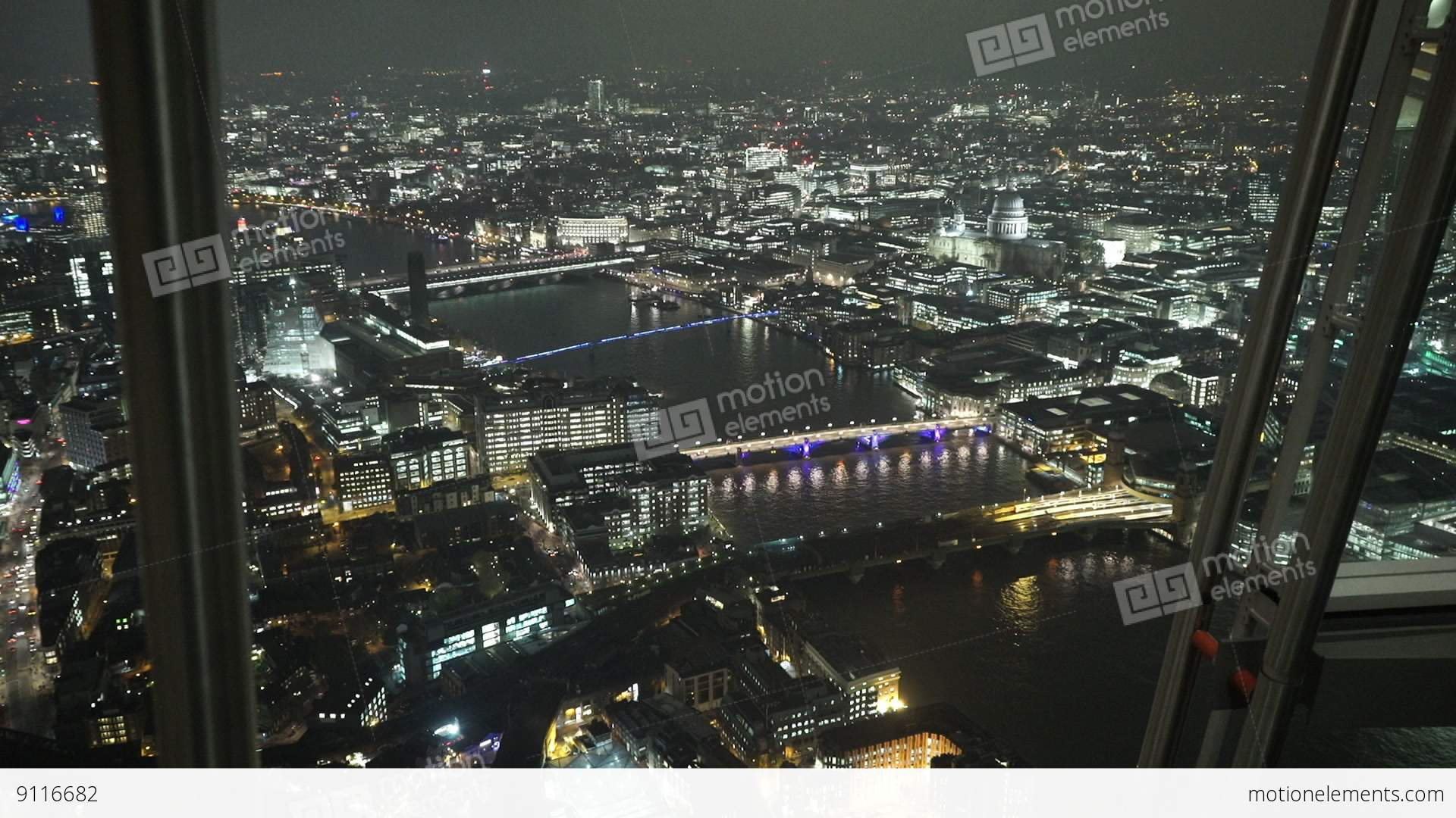 The View From Shard By Night London England Stock Video Footage