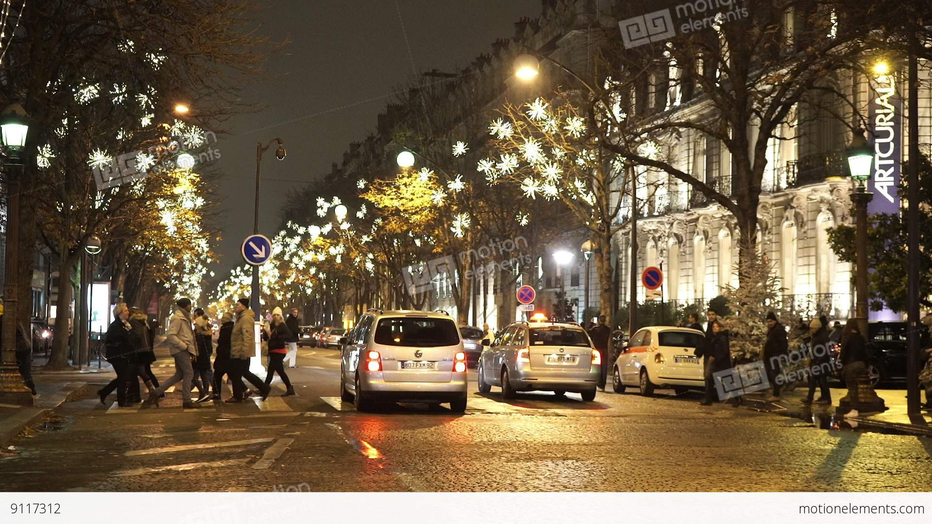 typical street view in paris at night stock video footage