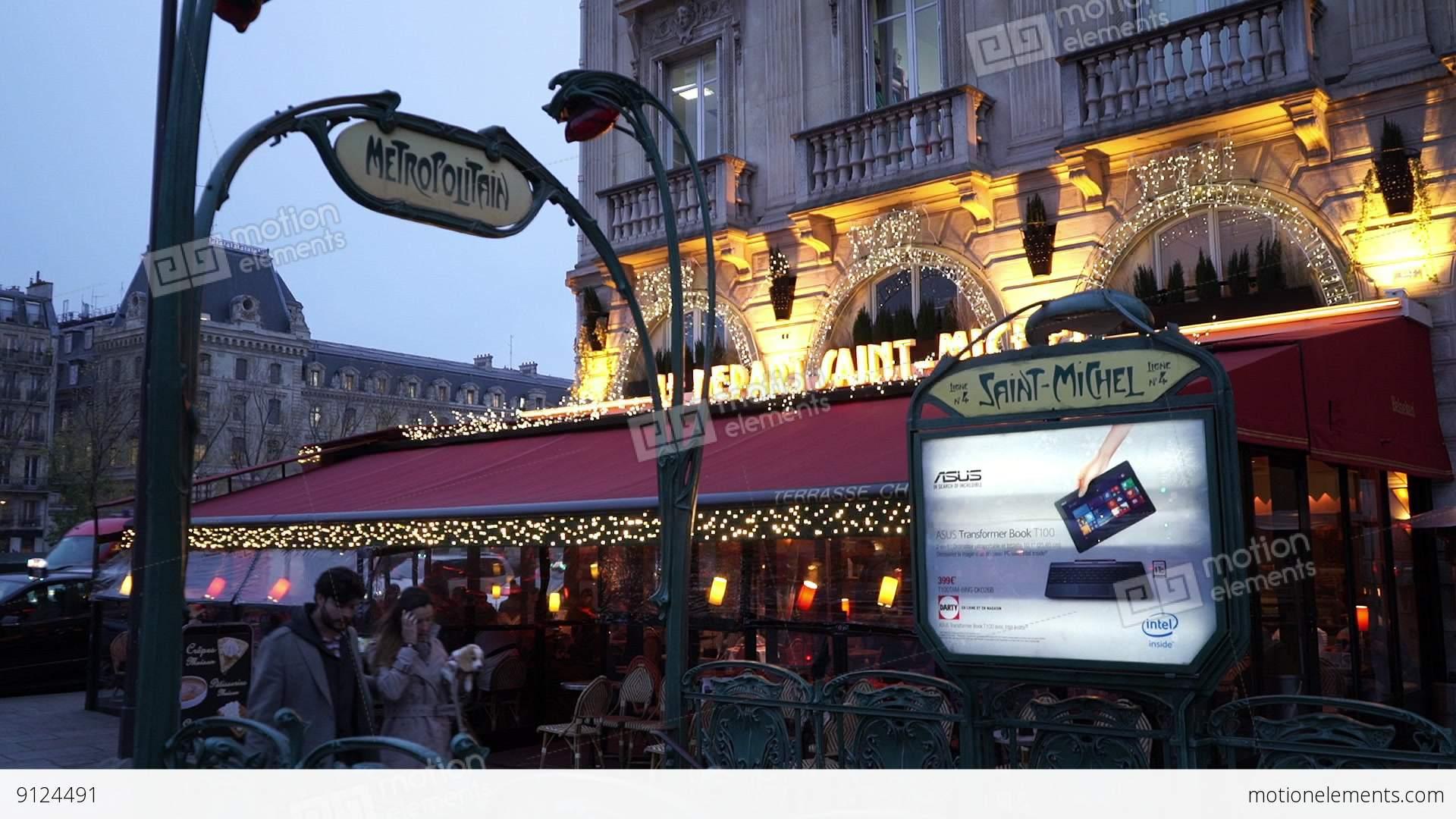 Metro station saint michel in paris stock video footage 9124491 - Saint michel paris metro ...