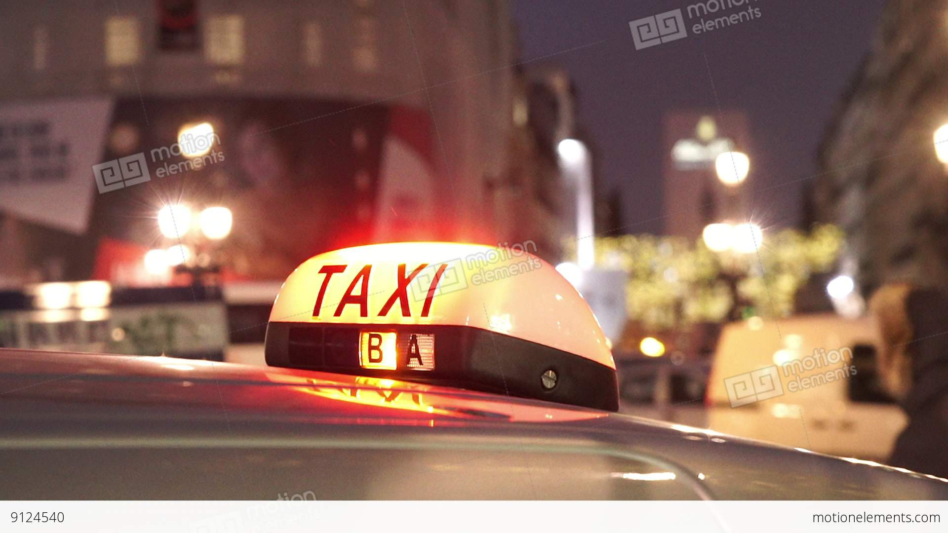 paris taxi cab in the evening stock video footage 9124540. Black Bedroom Furniture Sets. Home Design Ideas