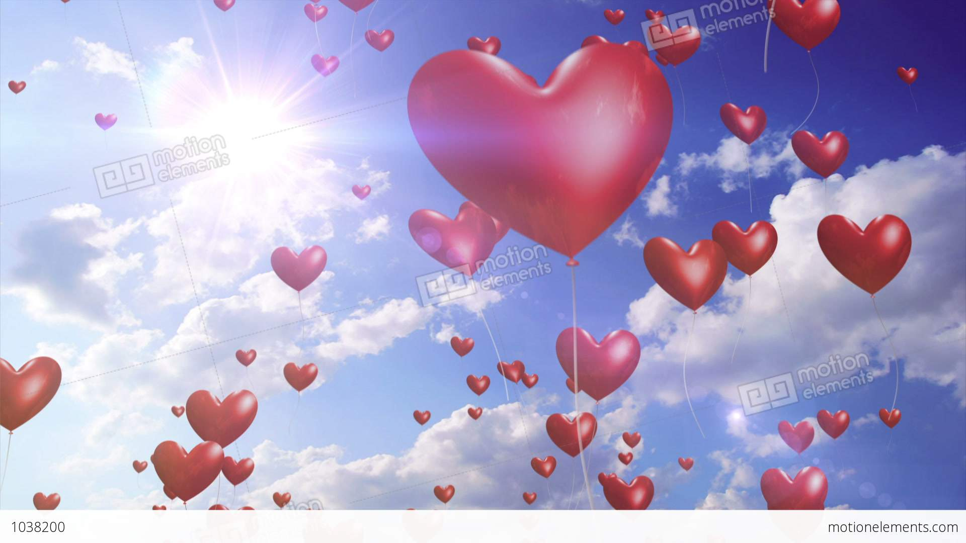 Heart Balloons Romantic Wedding Video Background Loop Stock Animation