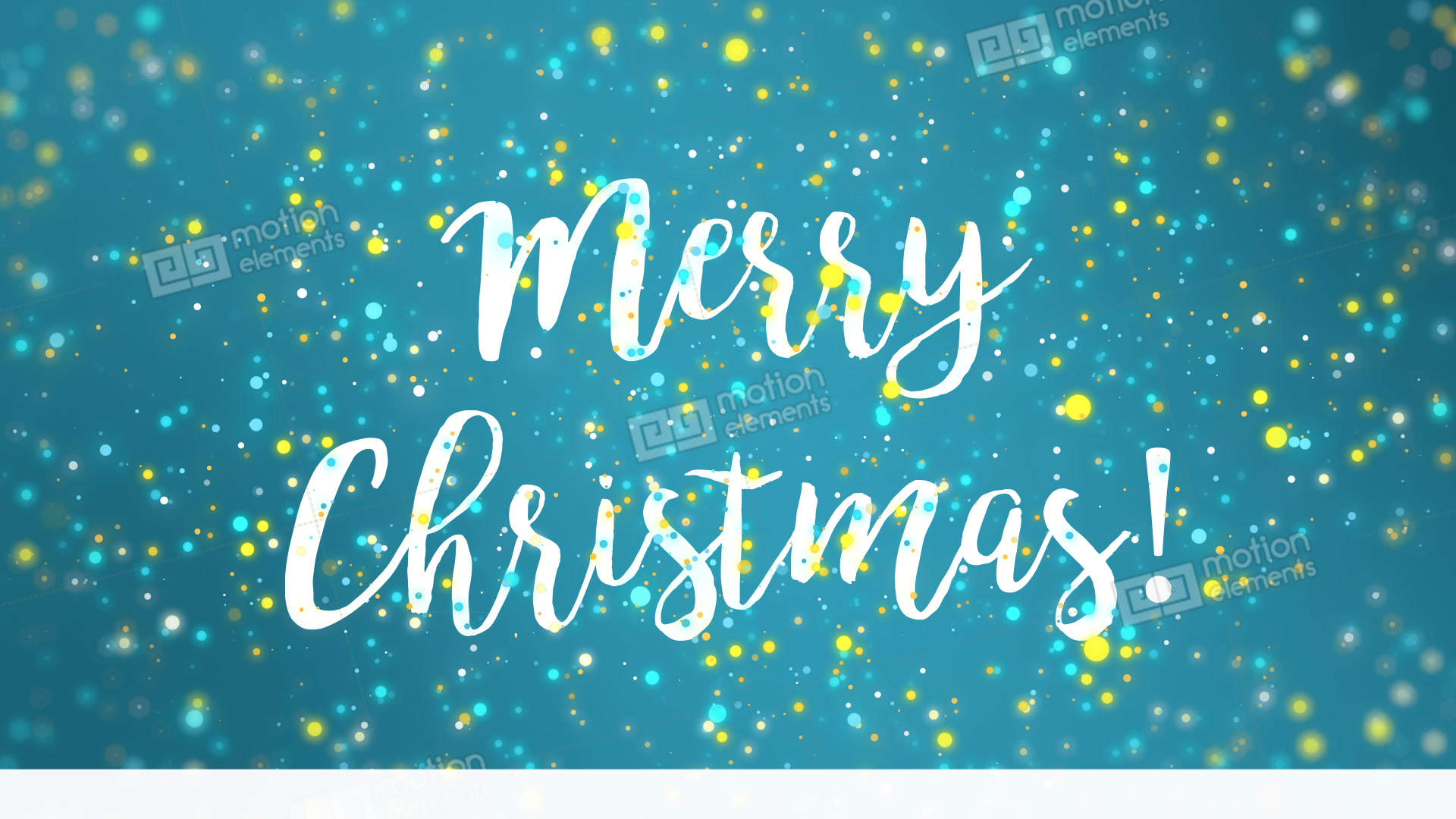 Sparkly Blue Yellow Merry Christmas Greeting Card Video Stock