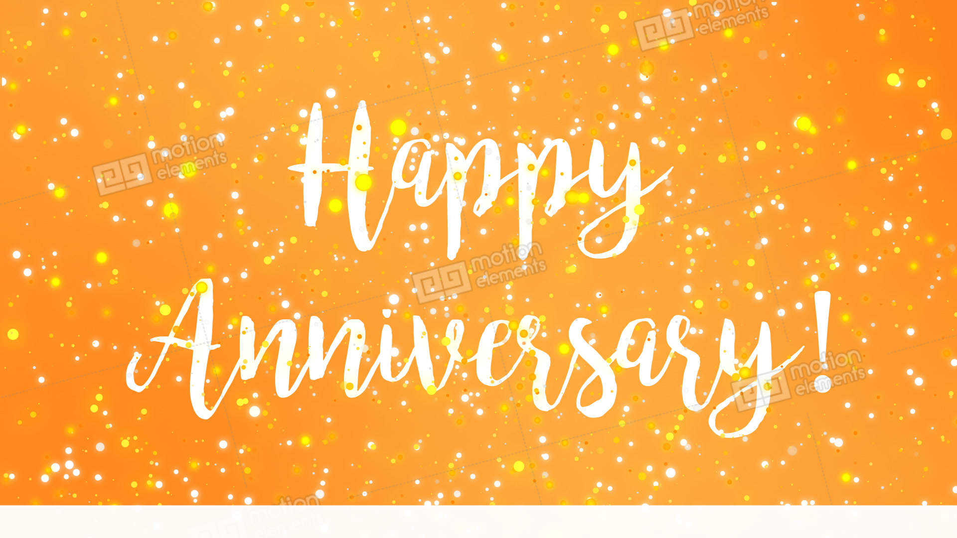 Sparkly Yellow Happy Anniversary Greeting Card Video Stock Animation