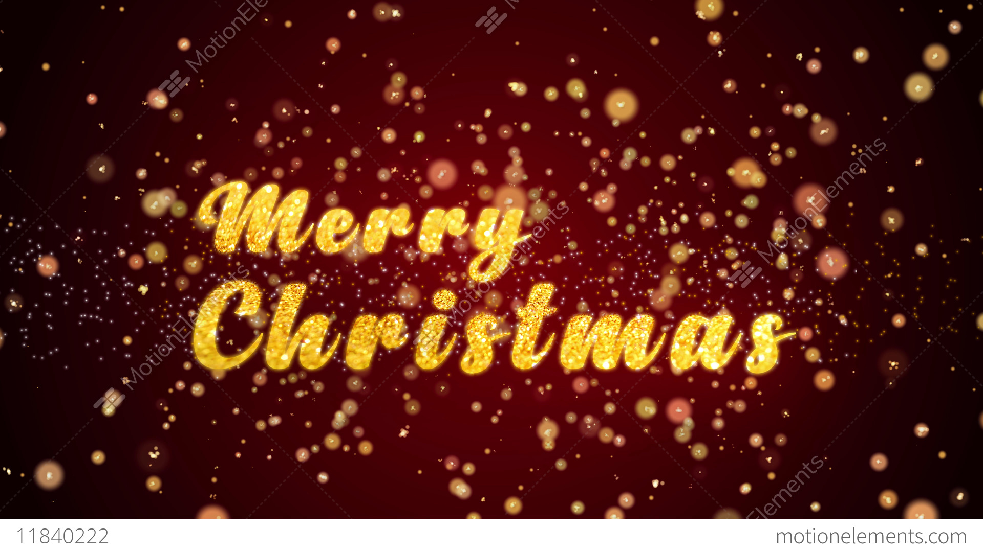 Merry Christmas Greeting Card Text Shiny Particles For Celebration