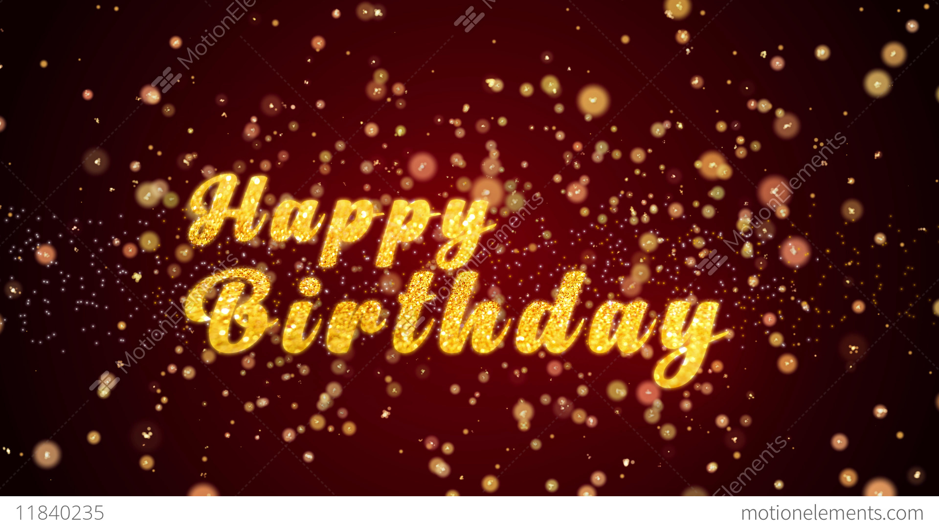 Happy Birthday Greeting Card Text Shiny Particles For Stock Video Footage