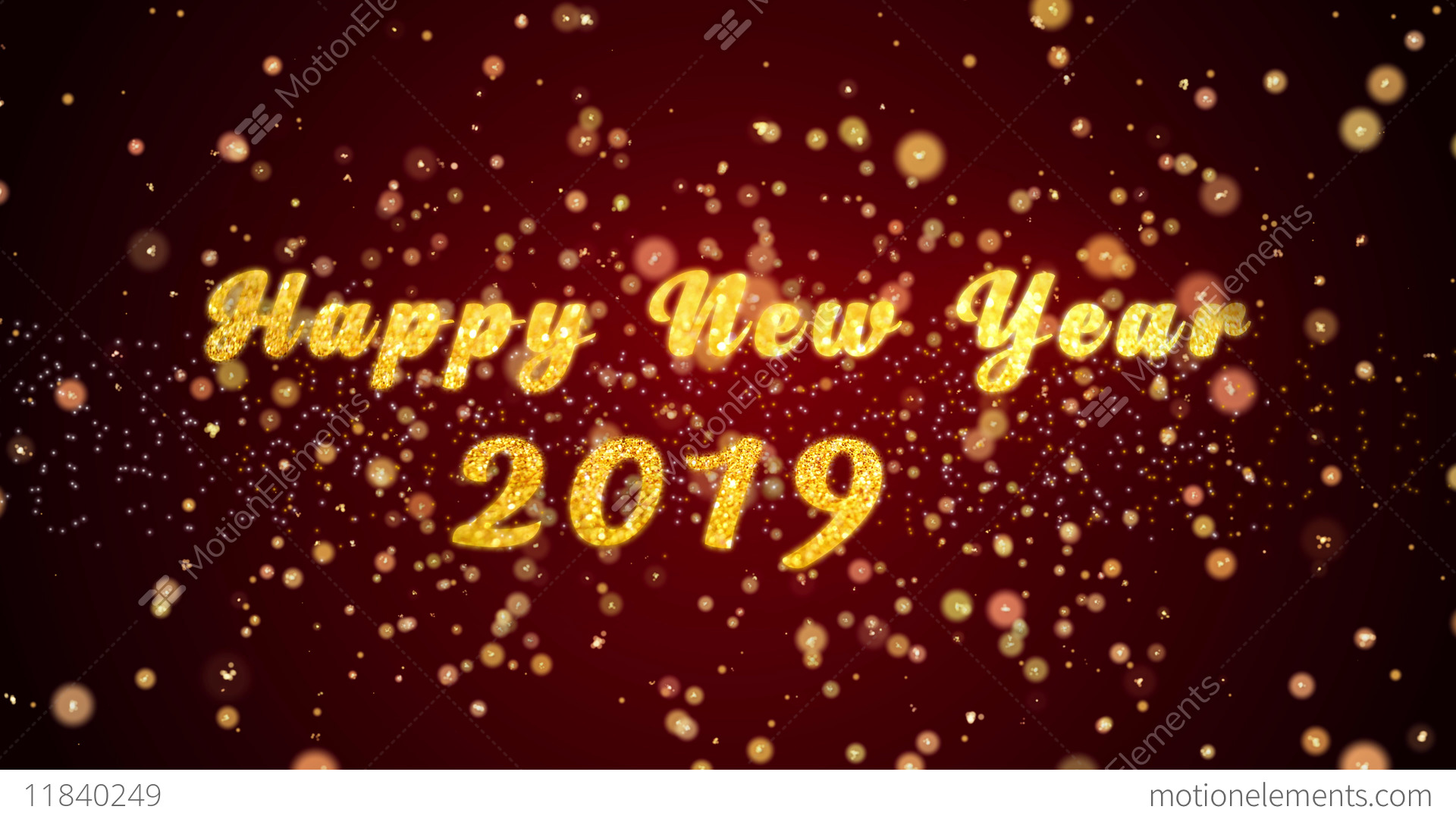 happy new year 2019 greeting card text shiny particles stock video footage