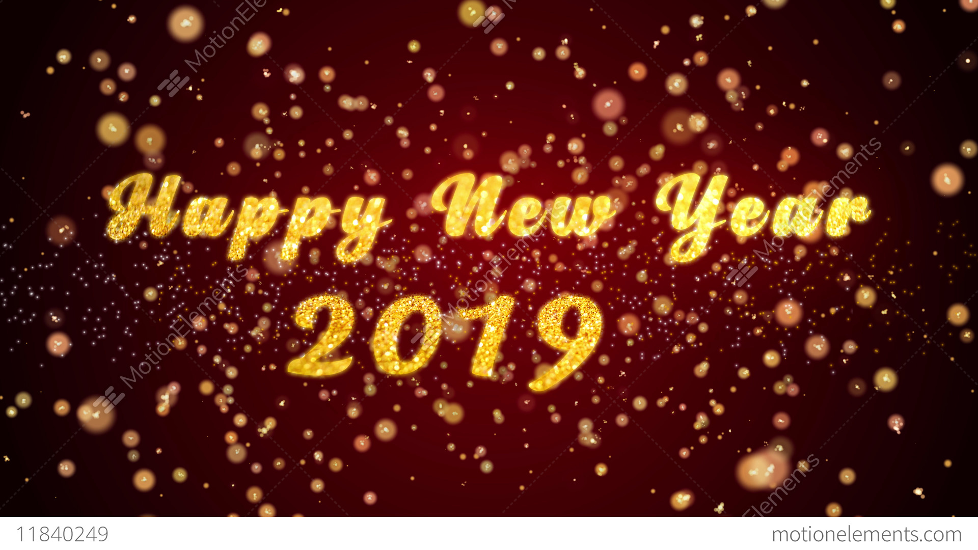 Happy New Year 2019 Greeting Card Text Shiny Particles For ...