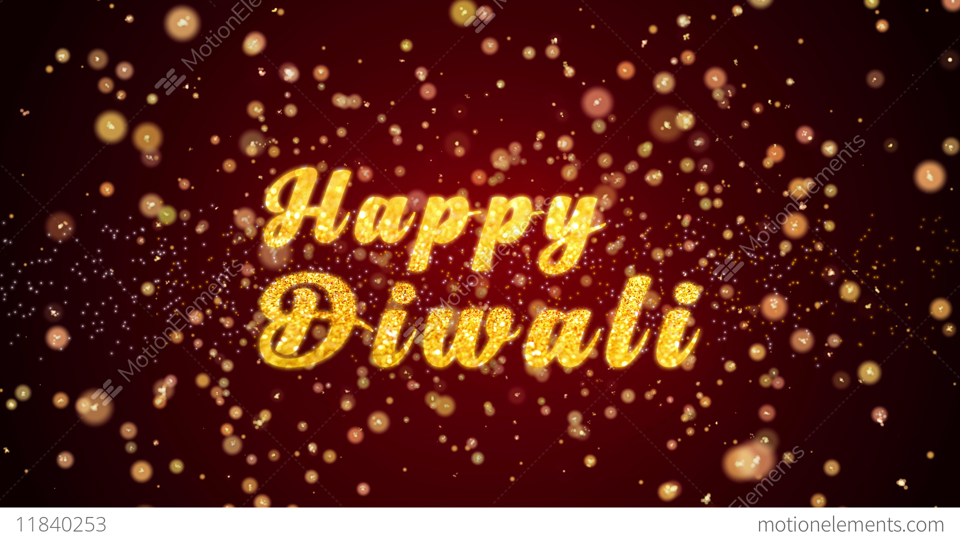 Happy Diwali Greeting Card Text Shiny Particles For Celebration