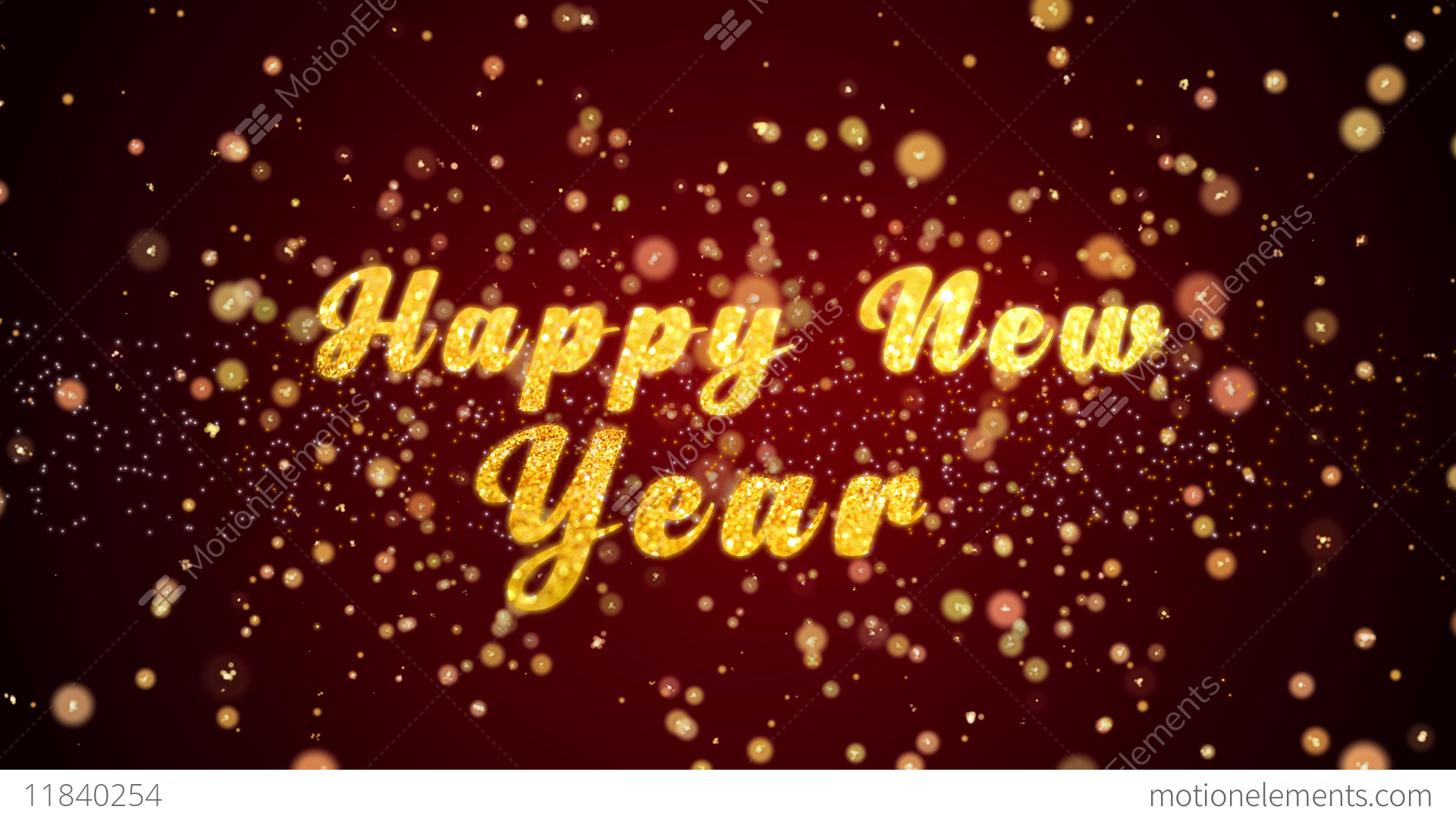 Happy New Year Greeting Card Text Shiny Particles For Celebration