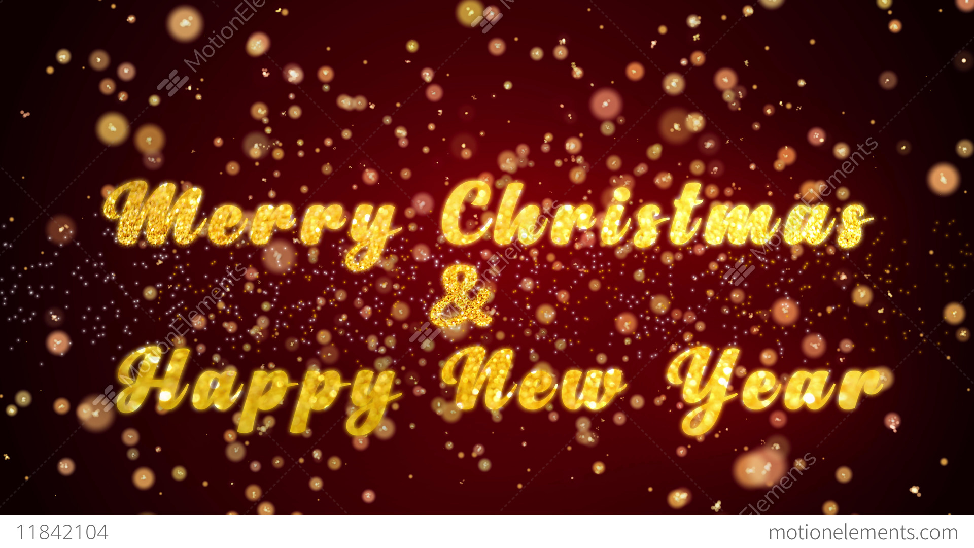 Merry Christmas Happy New Year Greeting Card Text Shiny Particles