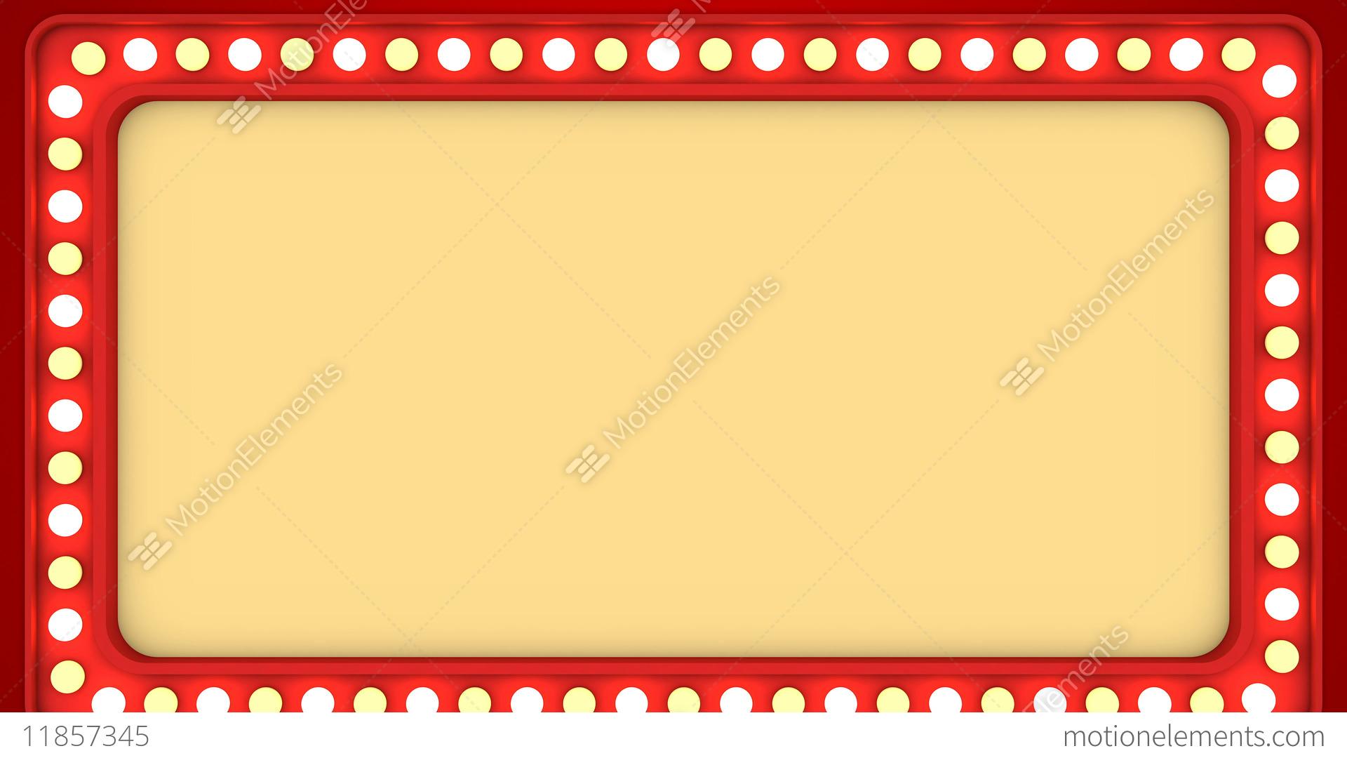 Flashing Light Bulbs Red Frame Border Screen Sign Casino