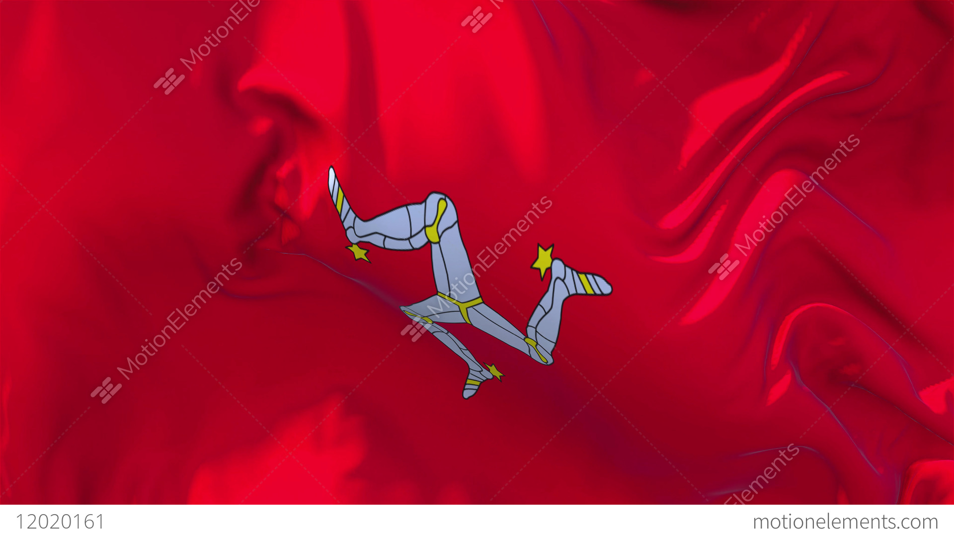 83 isle of man flag waving in wind continuous seamless loop